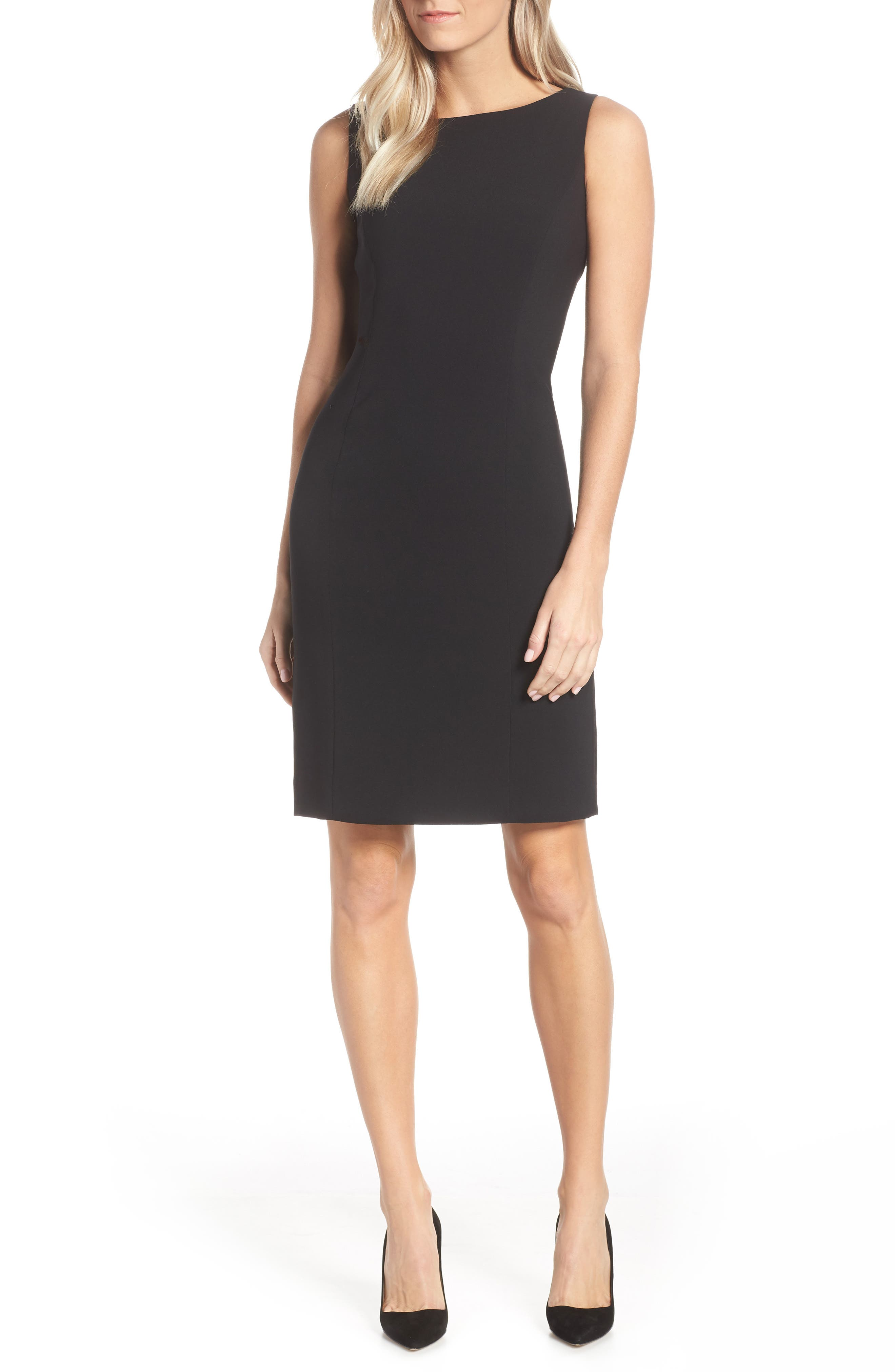 by Arthur S. Levine Crepe Sheath Dress,                             Alternate thumbnail 2, color,                             BLACK