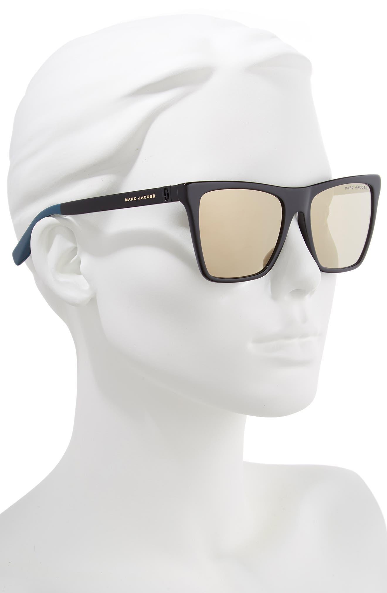 54mm Square Sunglasses,                             Alternate thumbnail 2, color,                             BLACK/ GOLD