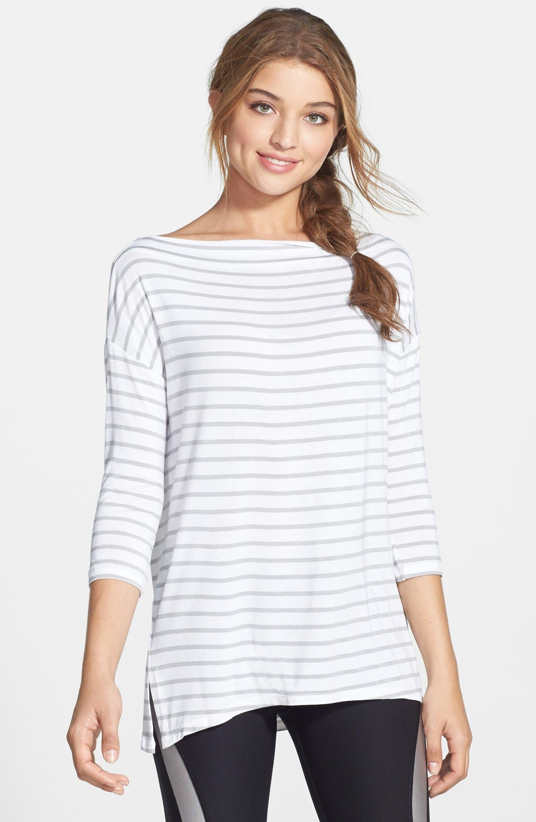 Stripe Jersey Tee,                         Main,                         color, 100