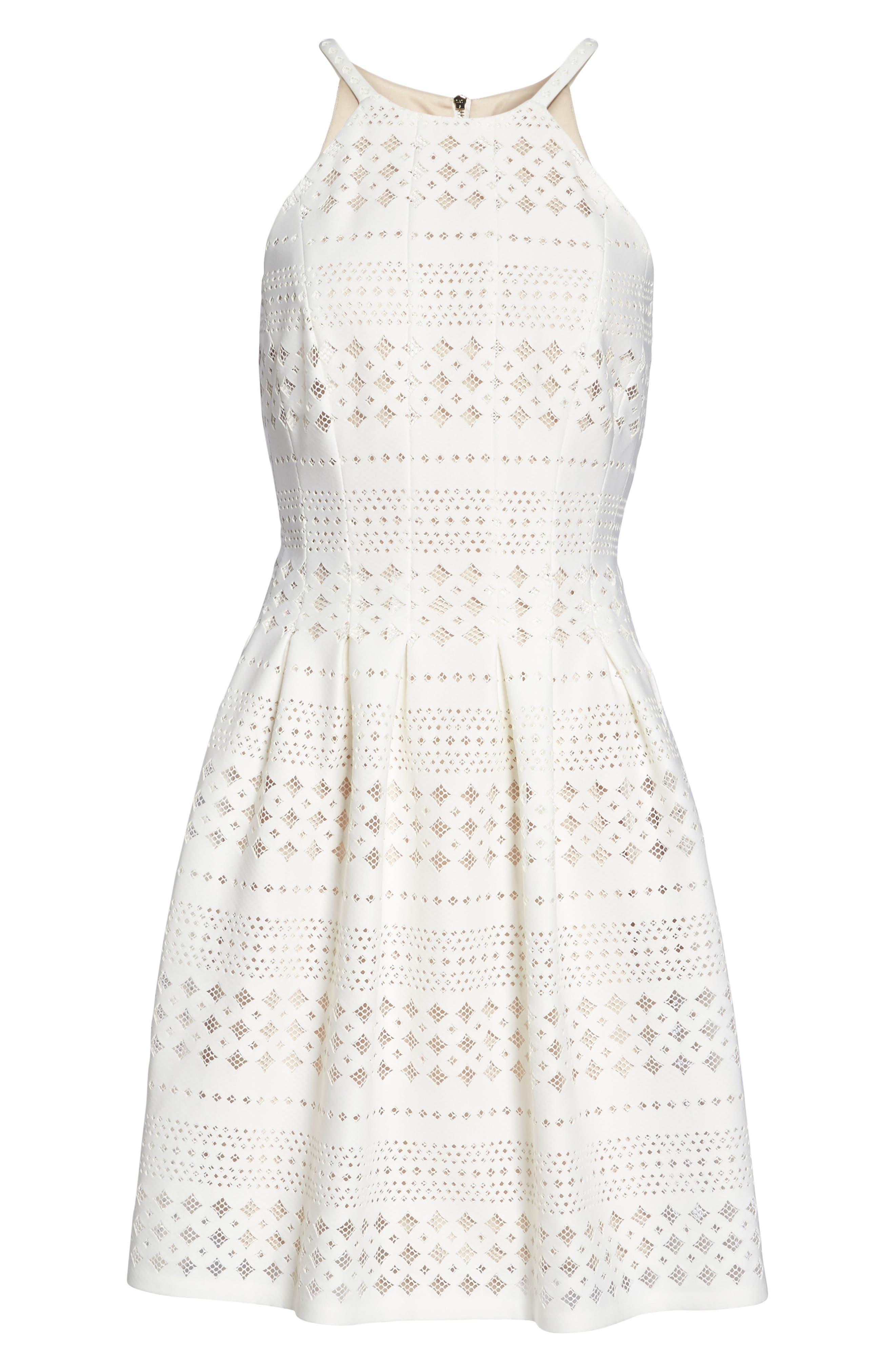 Laser Cut Fit & Flare Halter Dress,                             Alternate thumbnail 18, color,