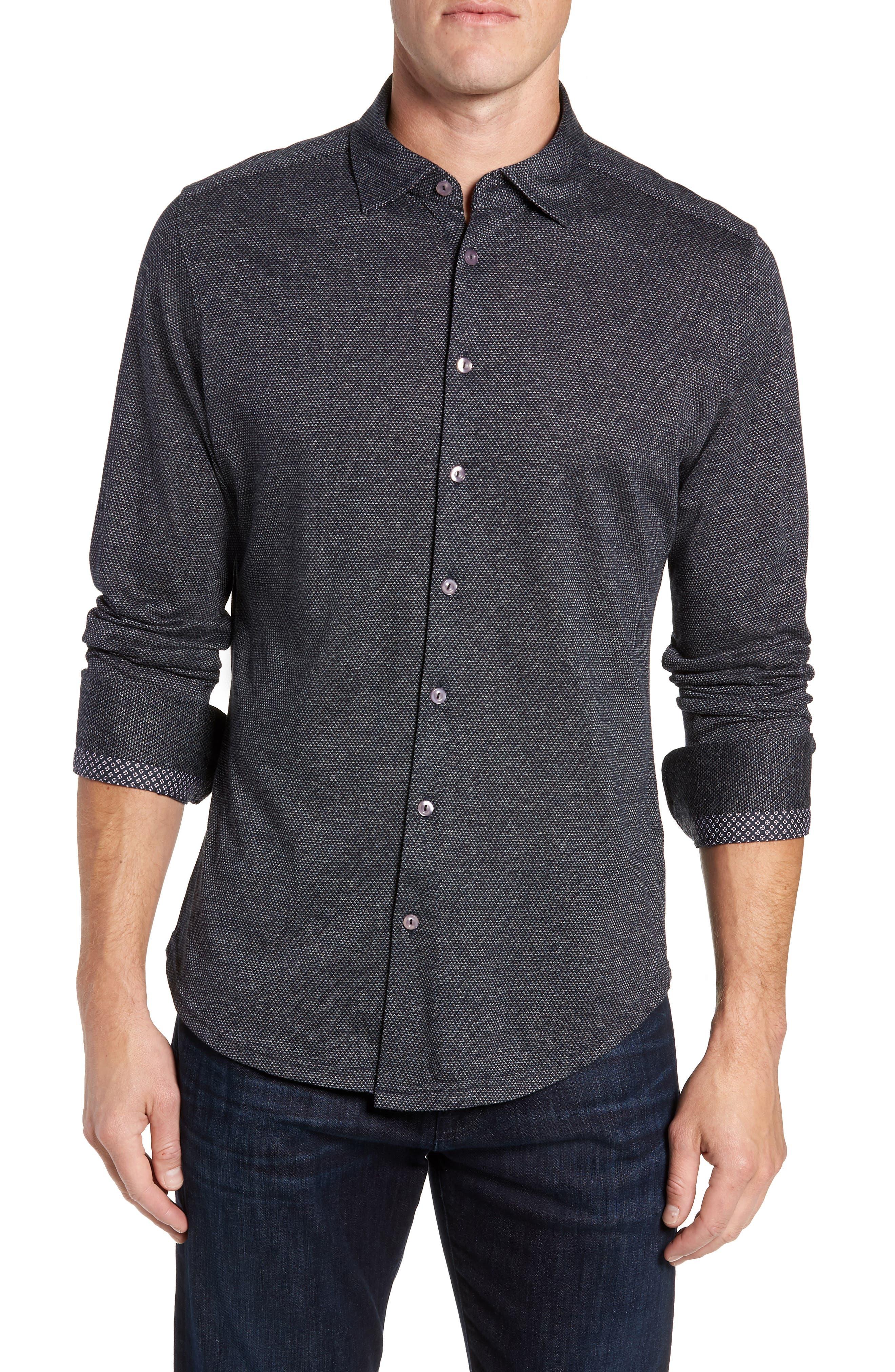 Trim Fit Jacquard Knit Sport Shirt,                             Main thumbnail 1, color,                             BLACK