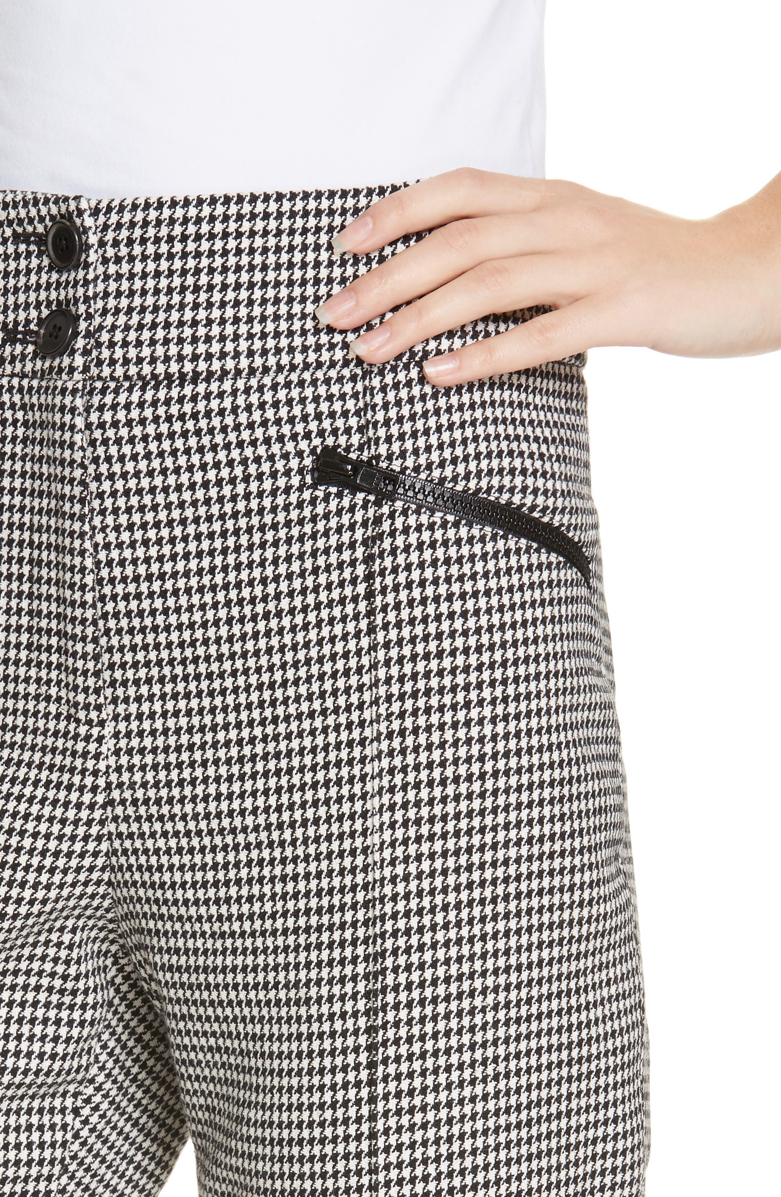 Felton Houndstooth Trousers,                             Alternate thumbnail 4, color,                             BLACK/WHITE