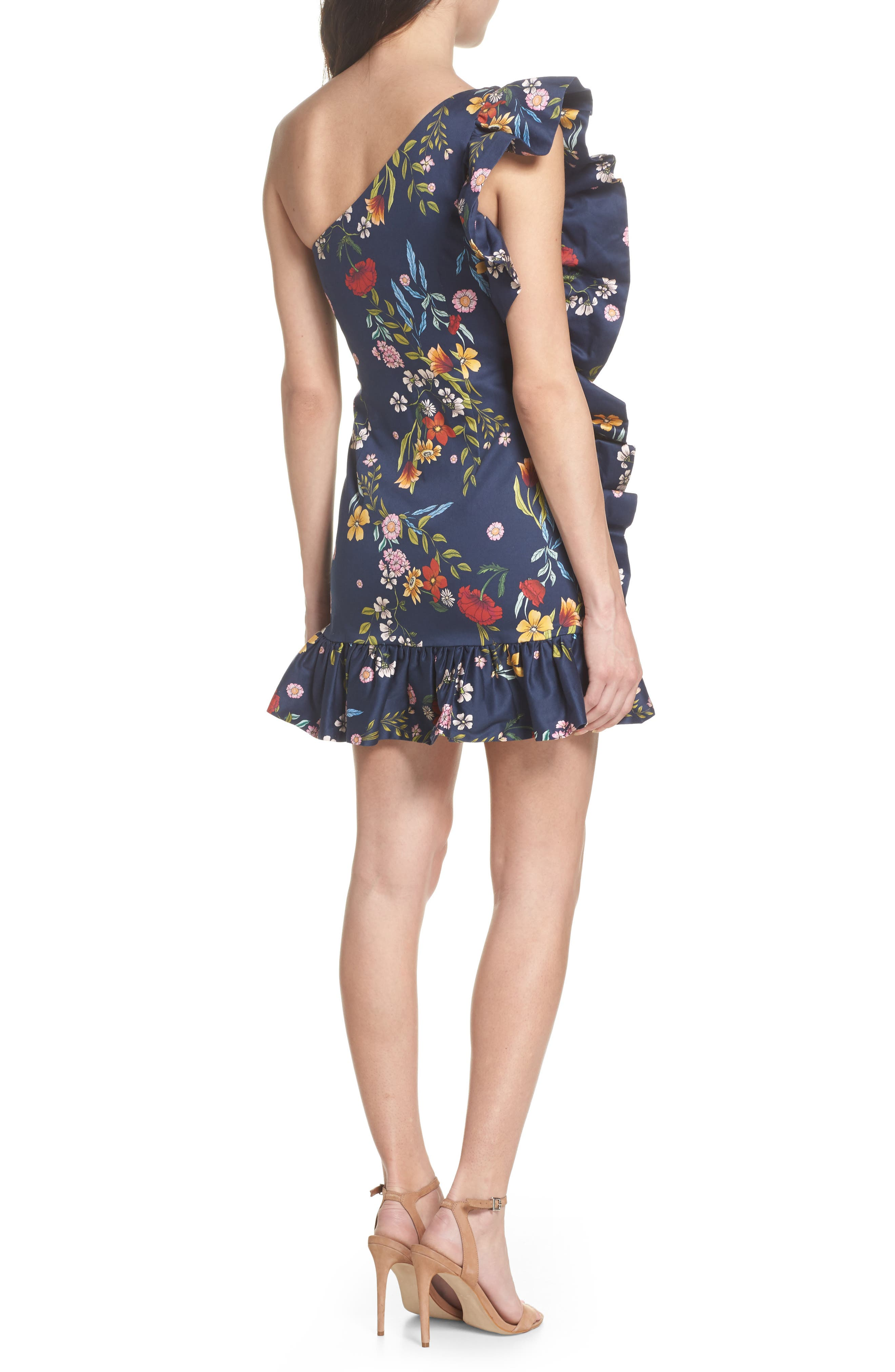 C/MEO No Matter One-Shoulder Ruffle Minidress,                             Alternate thumbnail 2, color,                             NAVY FLORAL