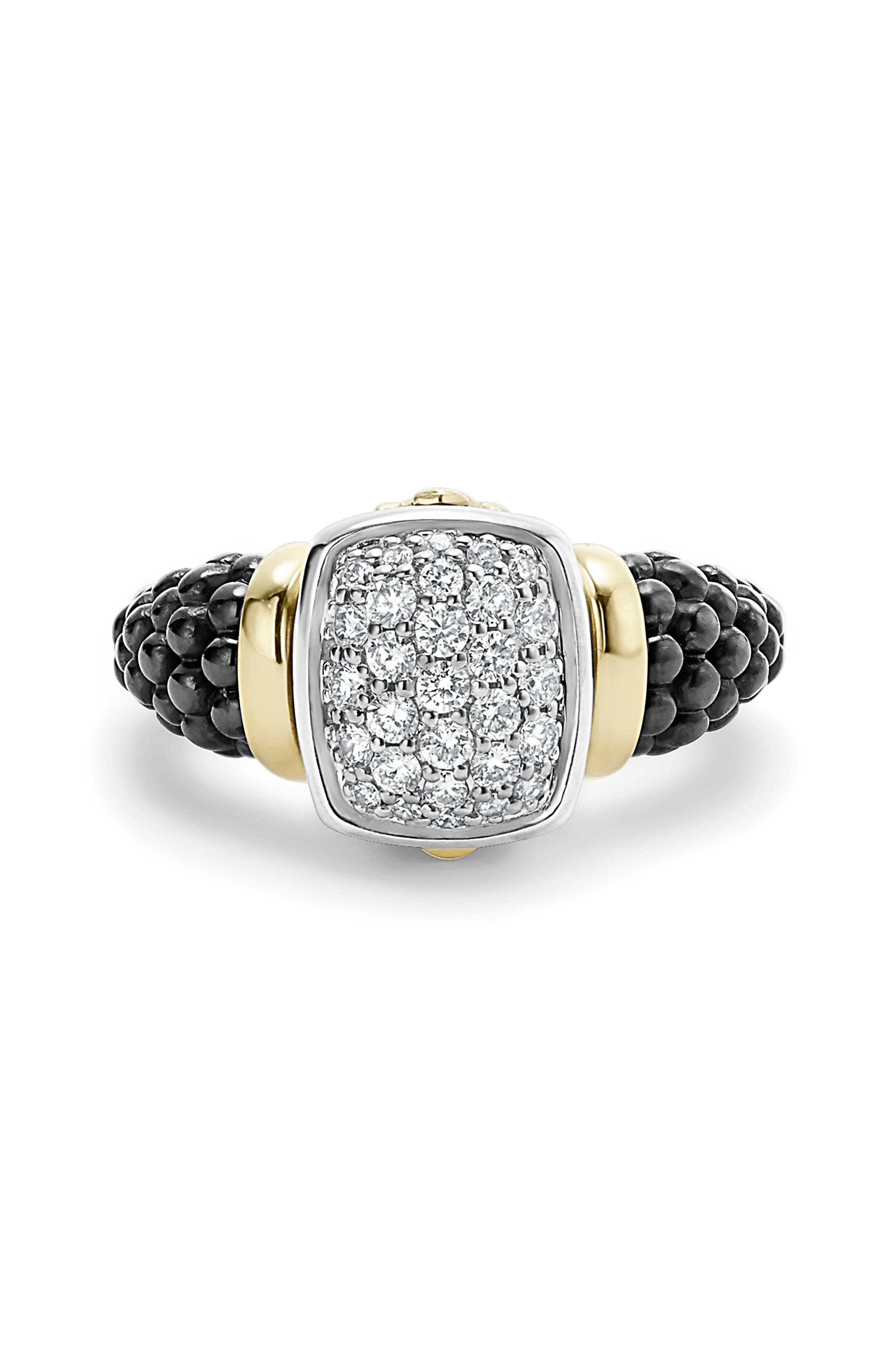 'Caviar' Diamond Ring,                             Alternate thumbnail 4, color,                             BLACK/ GOLD