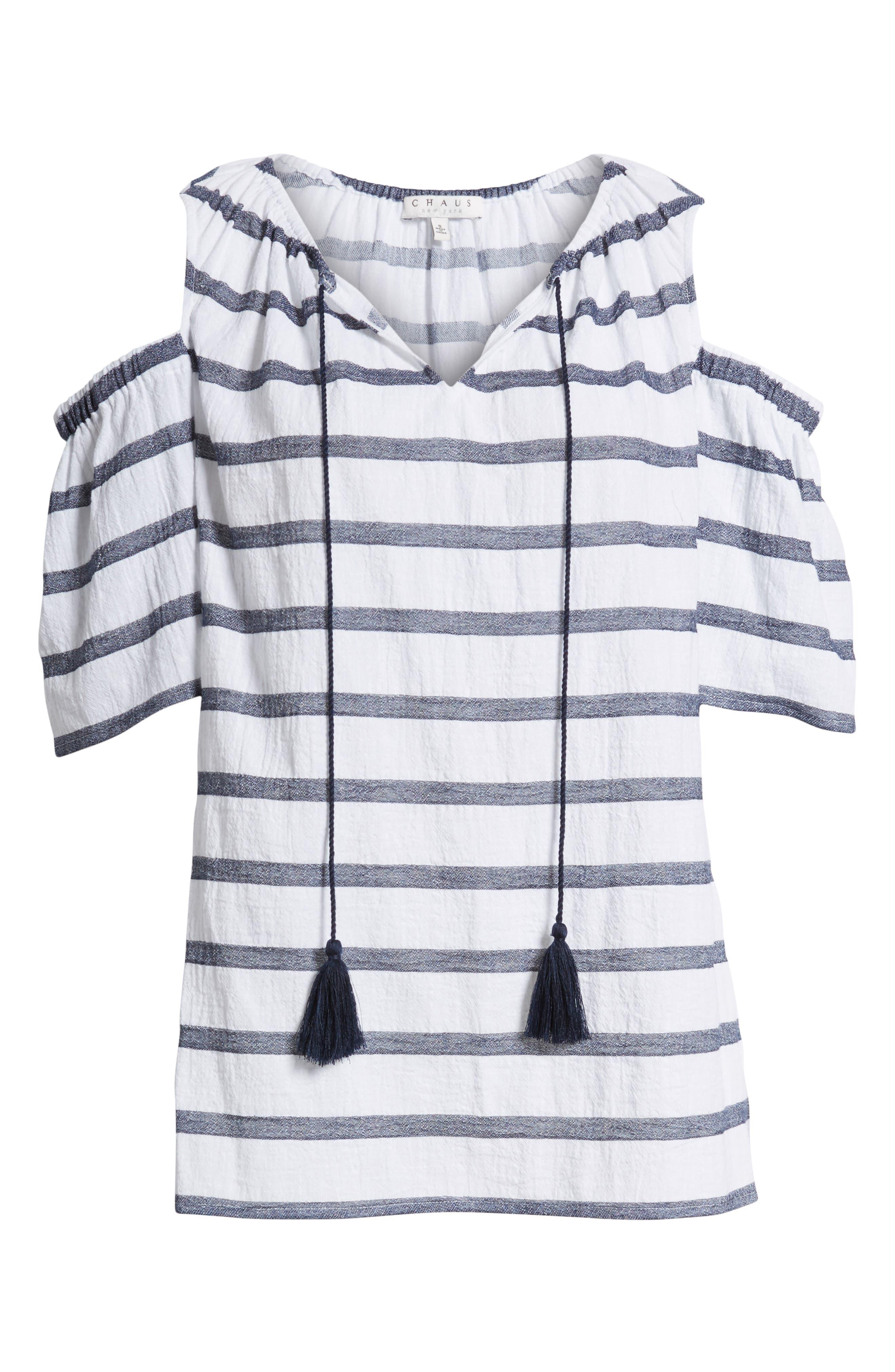 Stripe Cold Shoulder Cotton Gauze Top,                             Alternate thumbnail 7, color,                             NEW IVORY