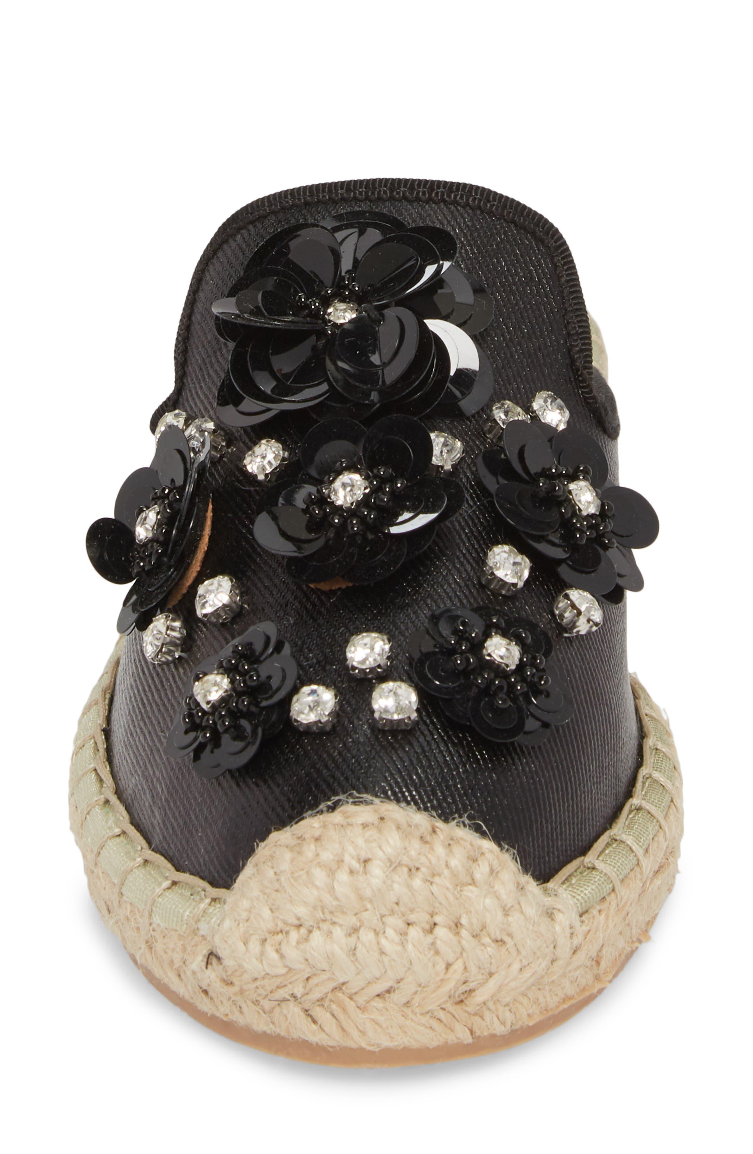 Tia Embellished Espadrille Mule,                             Alternate thumbnail 4, color,                             BLACK FABRIC