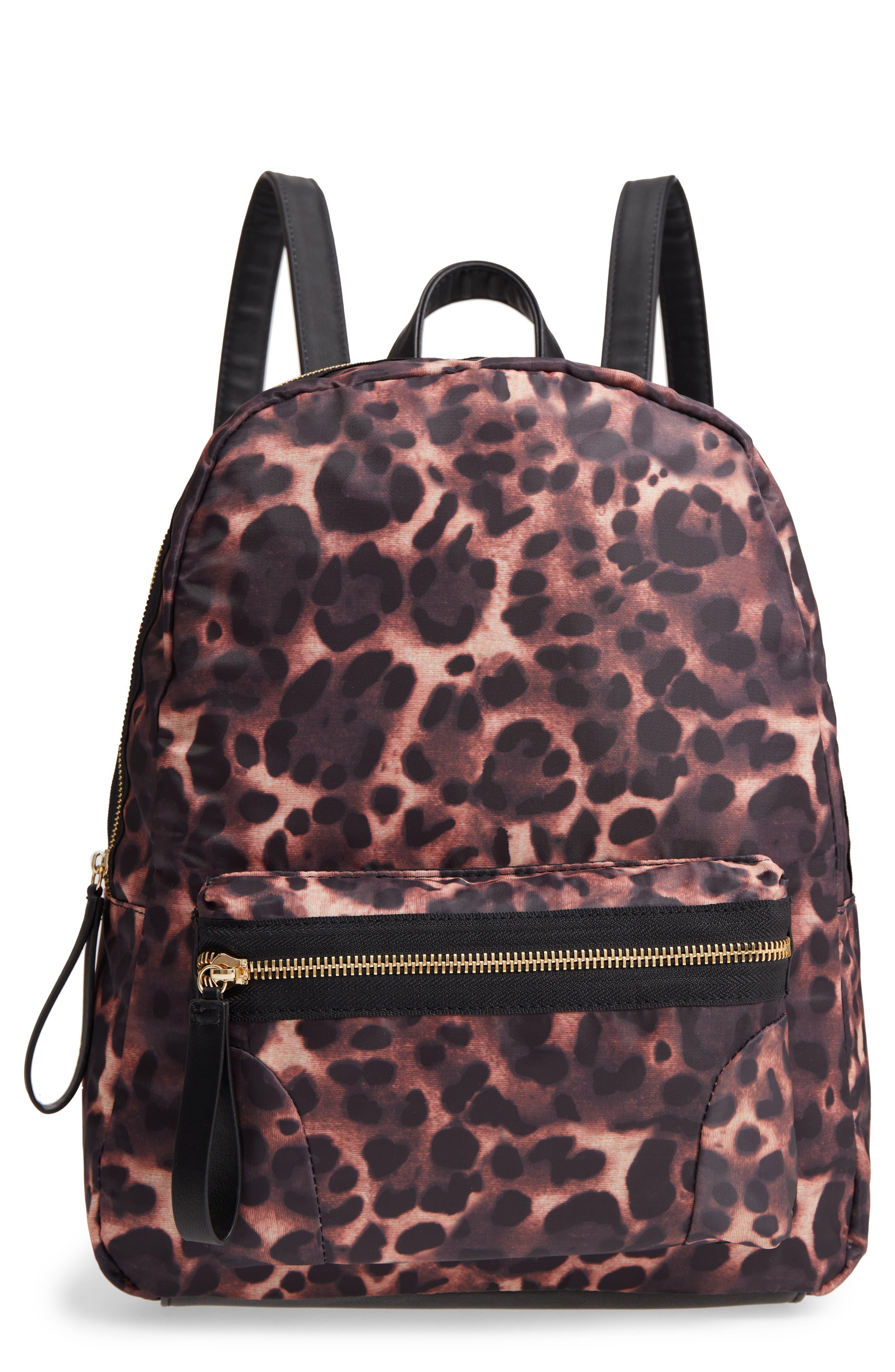 Leopard Print Nylon Backpack,                         Main,                         color, 200