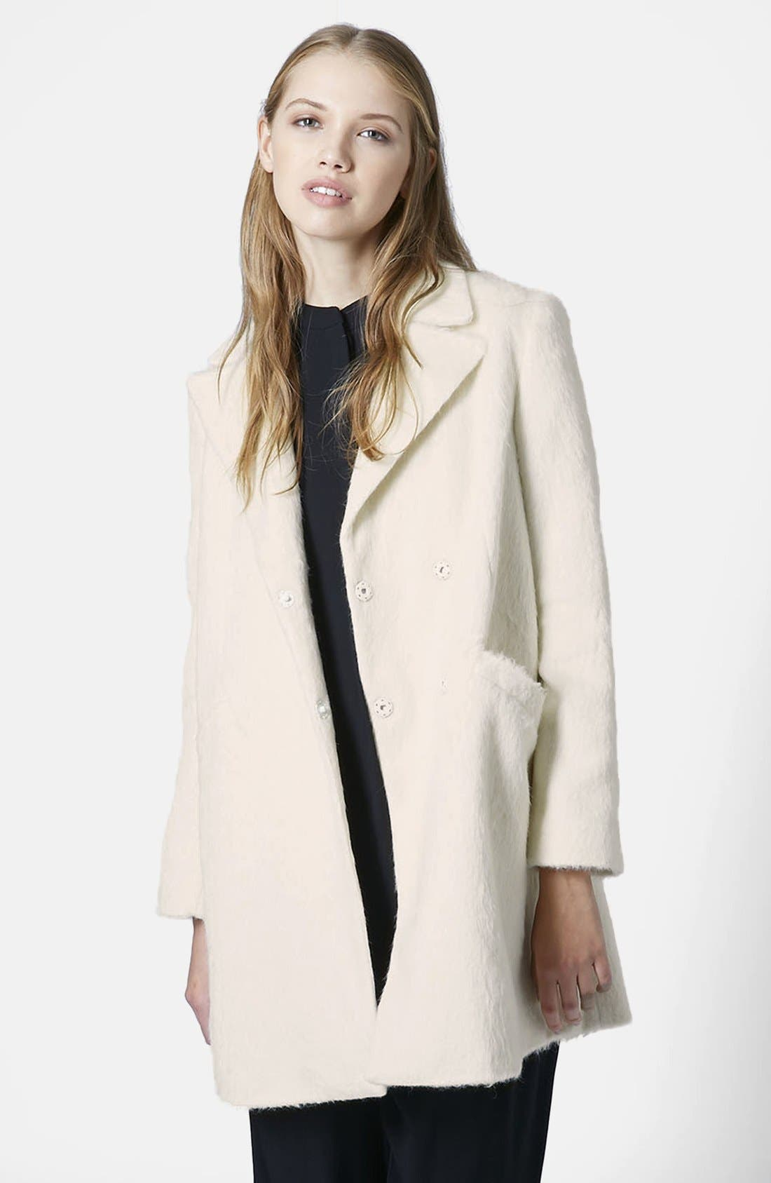 TOPSHOP,                             'Molly' Double Breasted Swing Coat,                             Main thumbnail 1, color,                             100