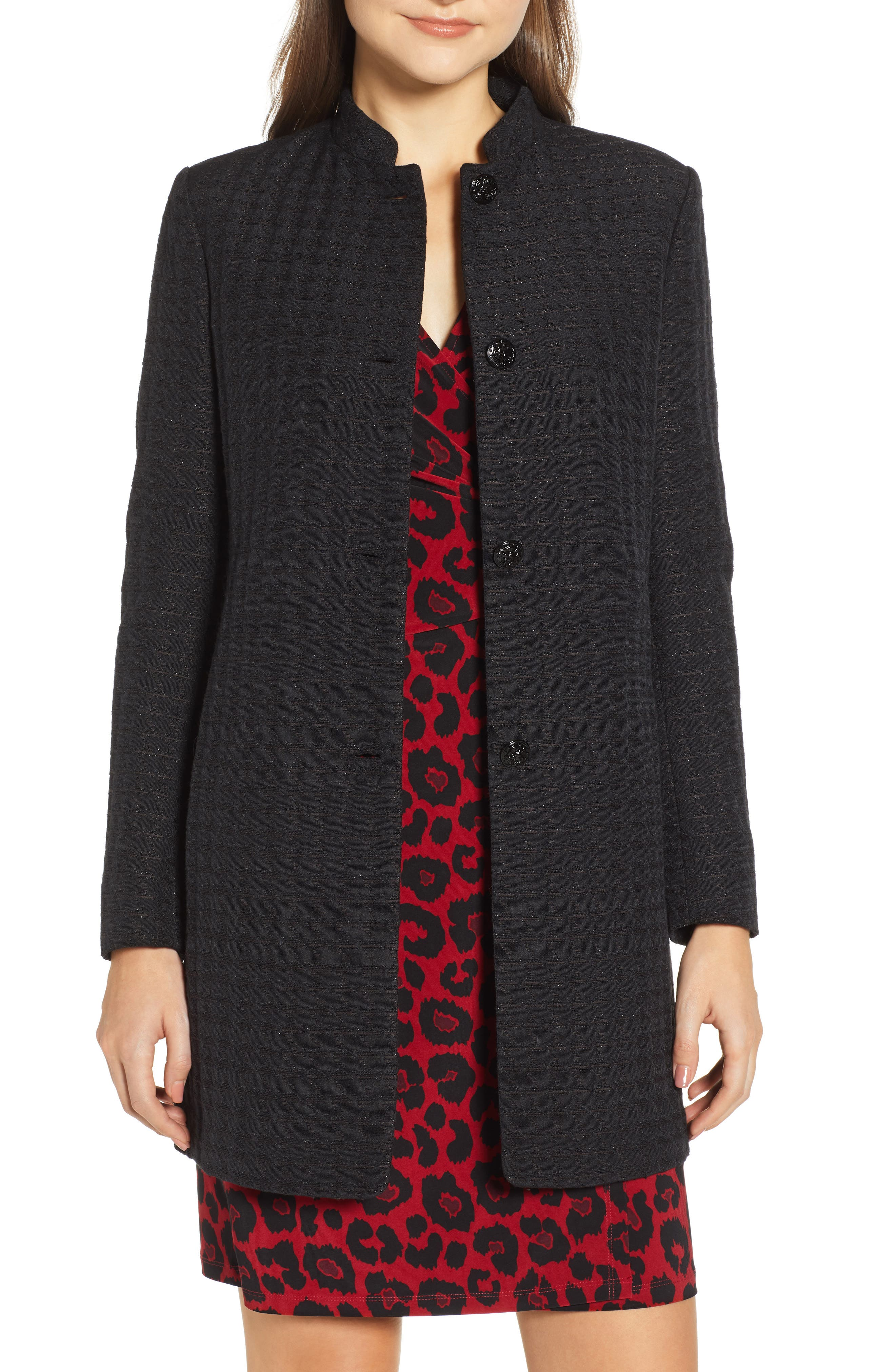 ANNE KLEIN Textured Houndstooth Nehru Jacket in Anne Black