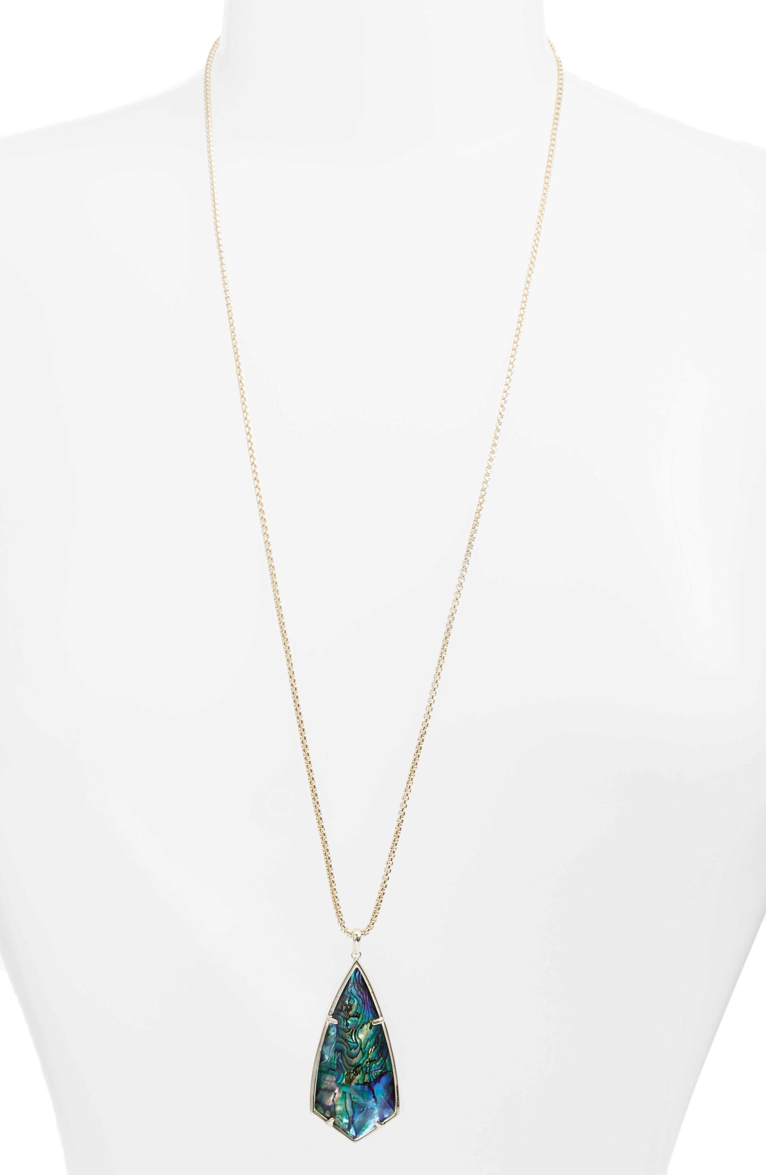 'Carole' Long Semiprecious Stone Pendant Necklace,                             Main thumbnail 2, color,