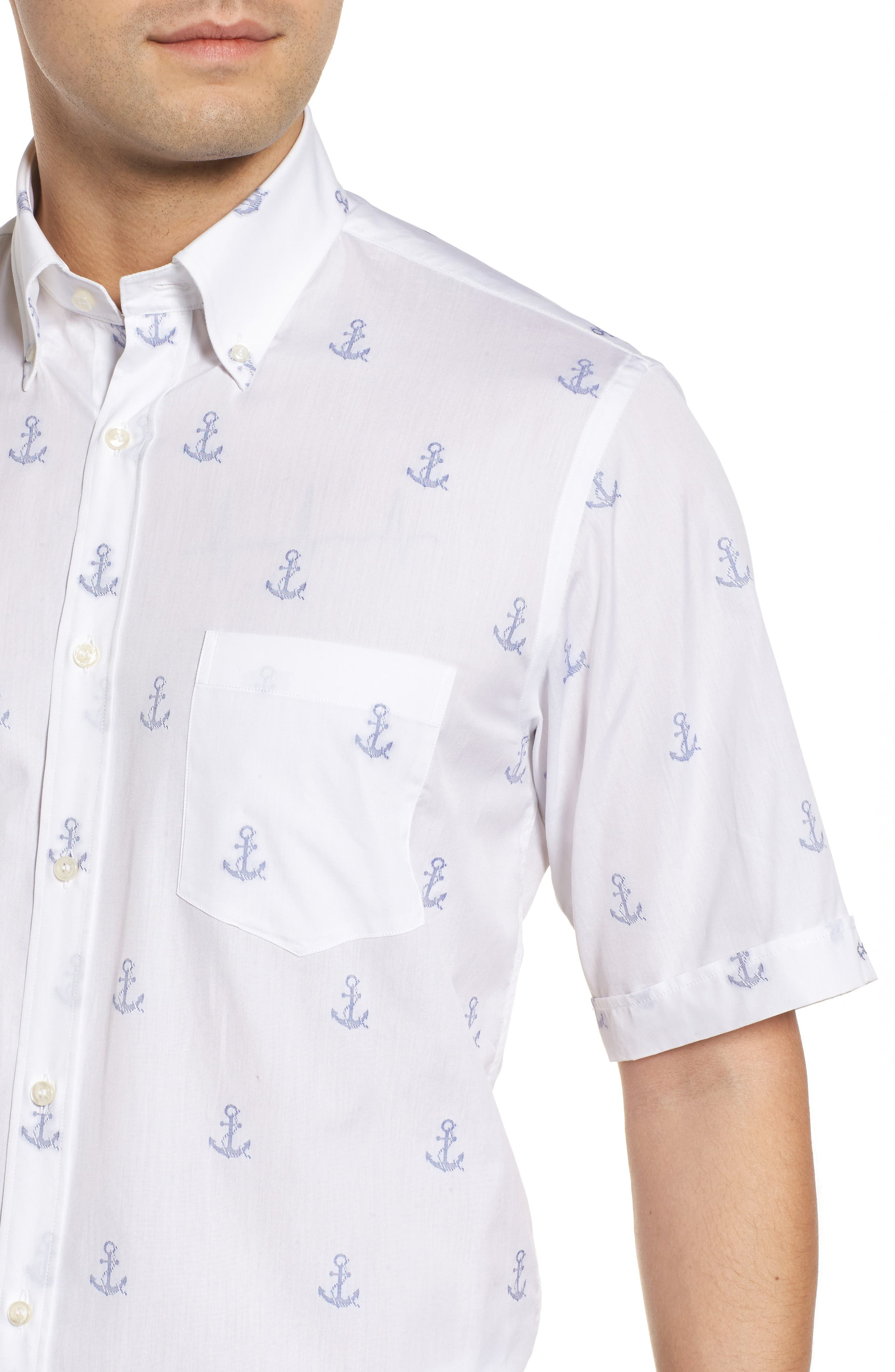 Paul&Shark Regular Fit Anchor Sport Shirt,                             Alternate thumbnail 4, color,                             110
