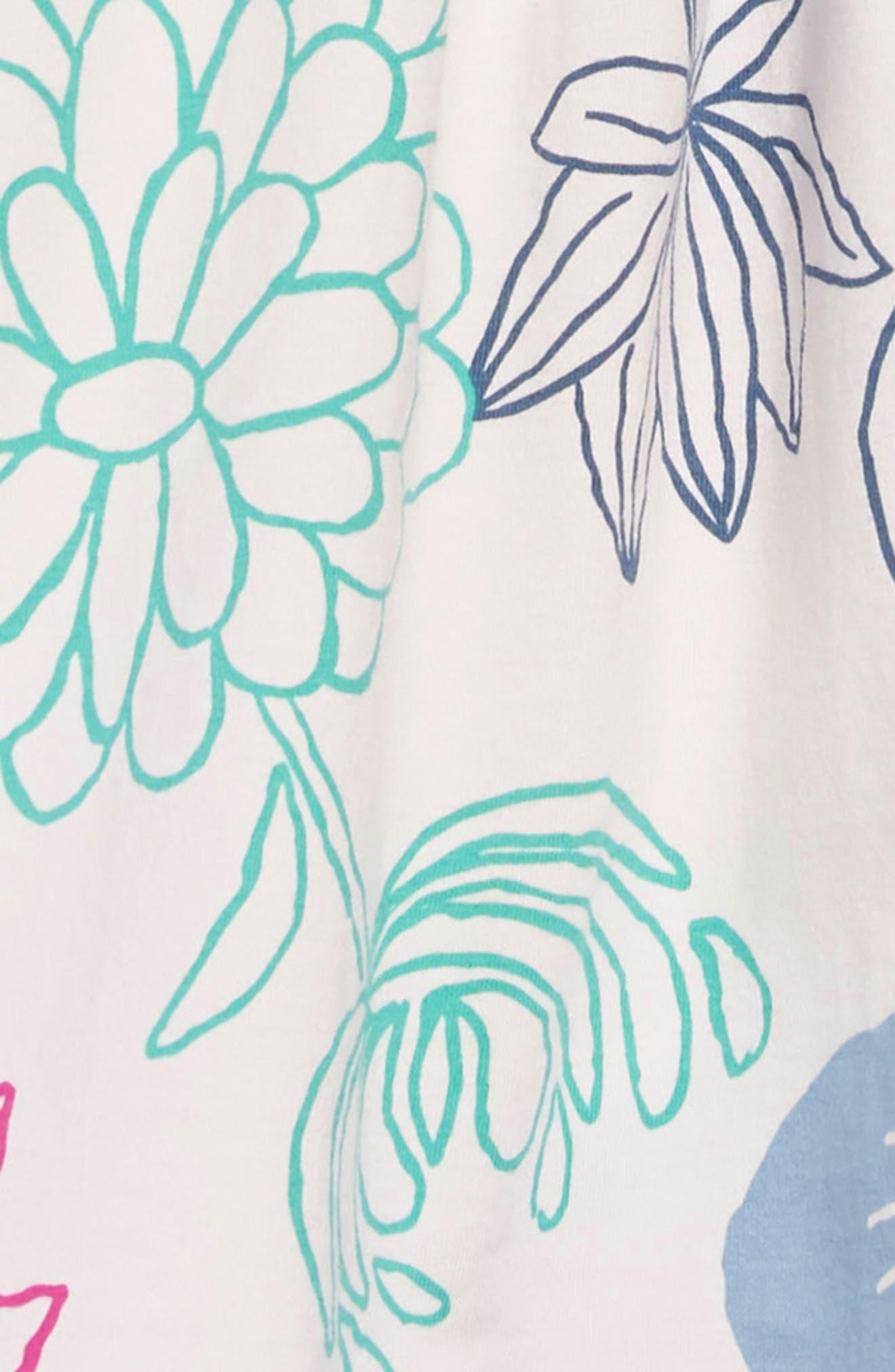 Mixed Print Dress,                             Alternate thumbnail 3, color,                             LILYPAD FLORAL - SILKWORM
