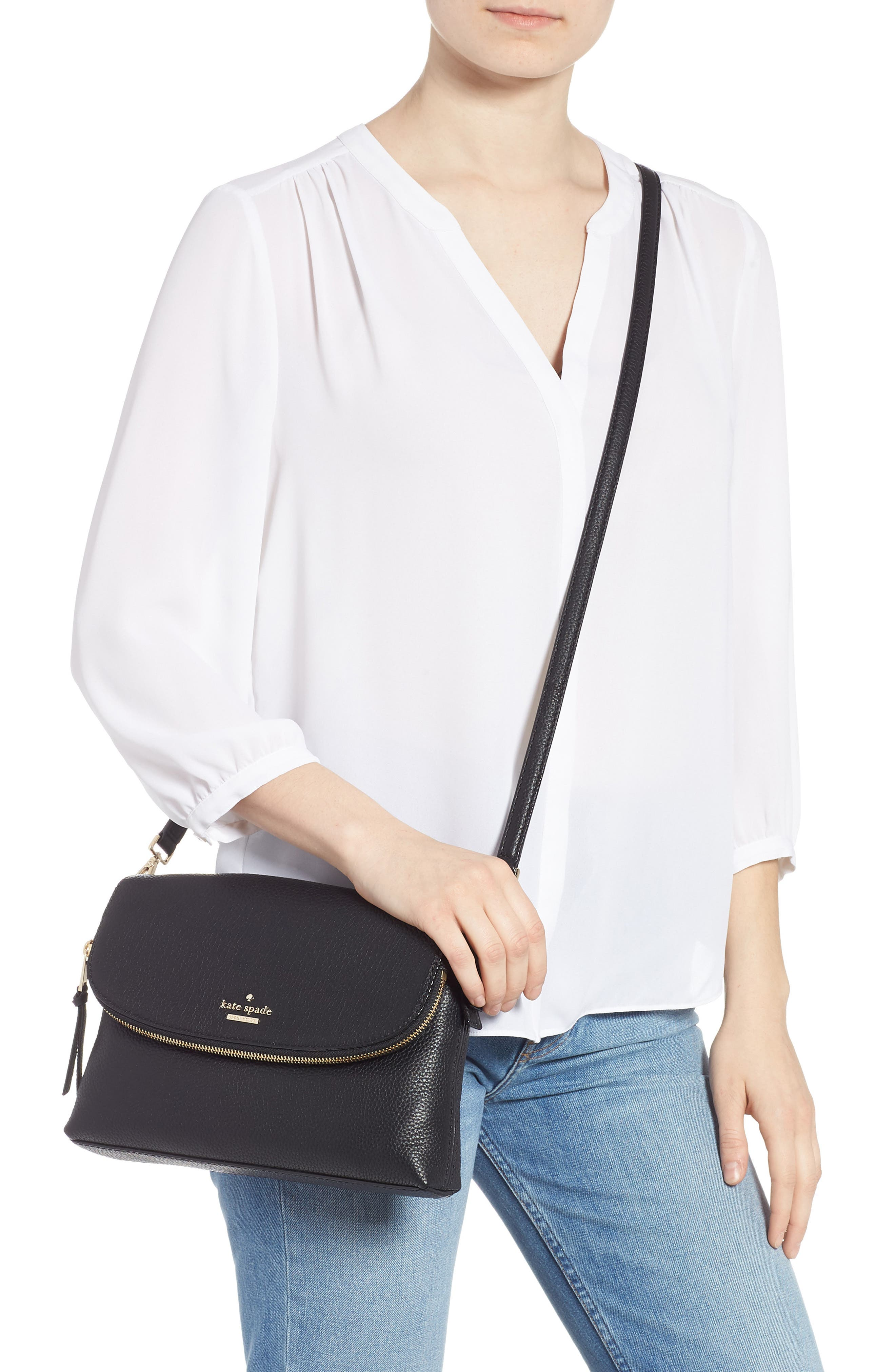 jackson street - harlyn leather crossbody bag,                             Alternate thumbnail 2, color,                             BLACK