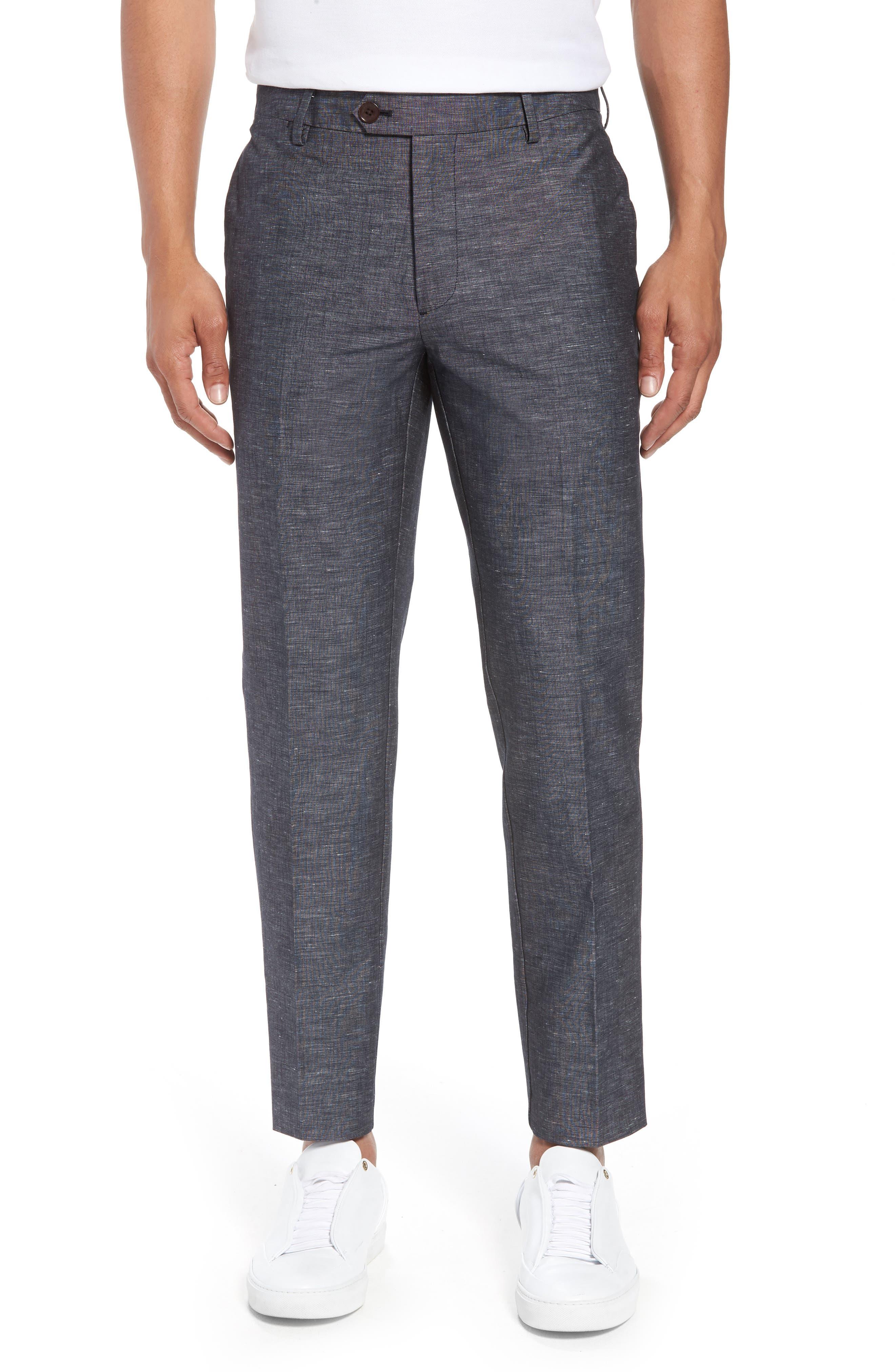 Flat Front Solid Stretch Cotton & Linen Pants,                         Main,                         color,