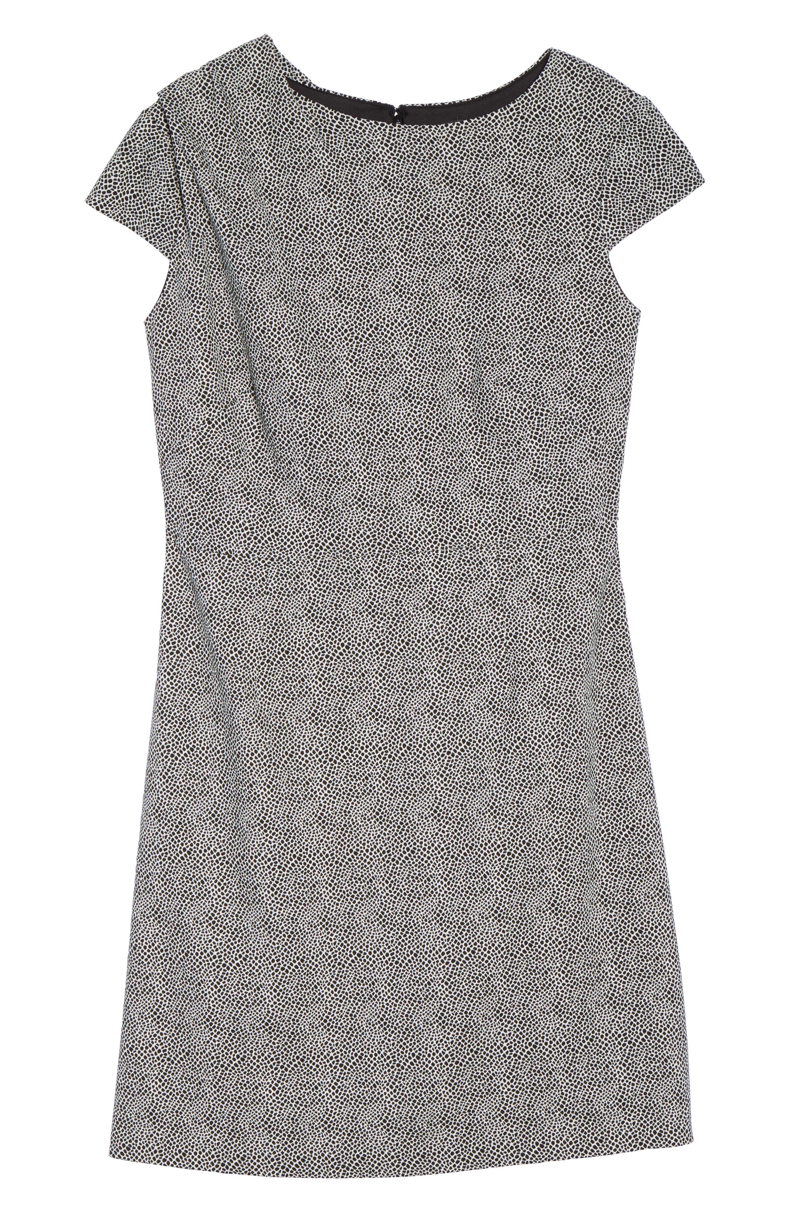 Spotted Jacquard Fit & Flare Dress,                             Alternate thumbnail 6, color,                             001