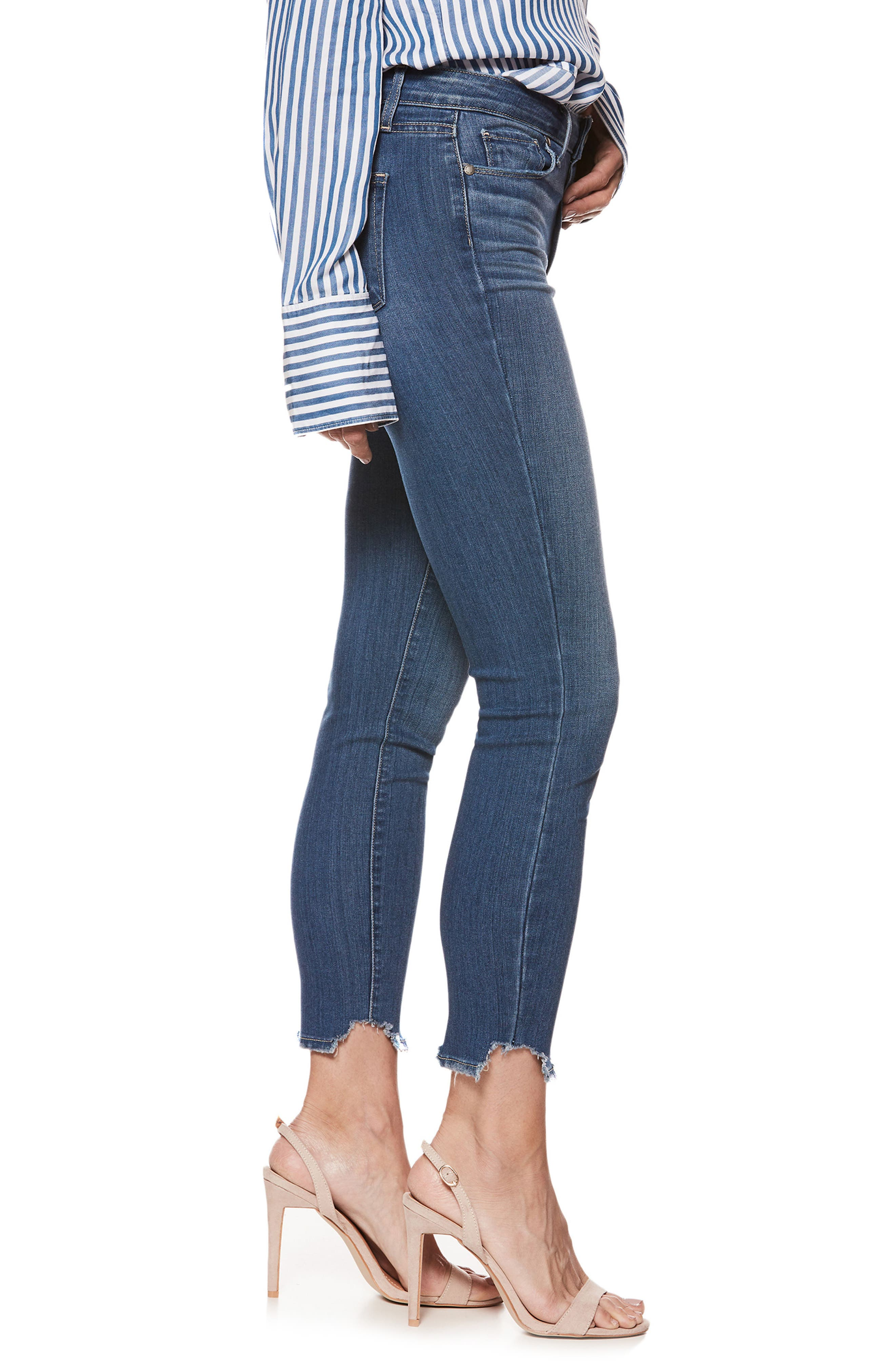 Transcend - Hoxton High Waist Crop Skinny Jeans,                             Alternate thumbnail 3, color,                             400