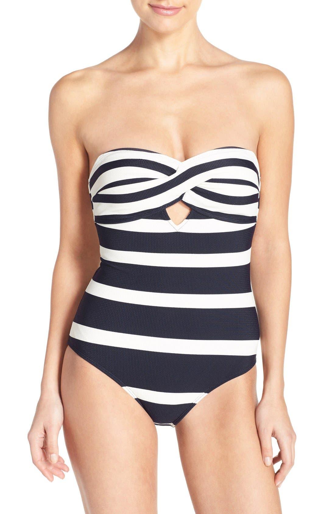 'Cirana' Textured Bandeau One-Piece Swimsuit,                             Main thumbnail 1, color,