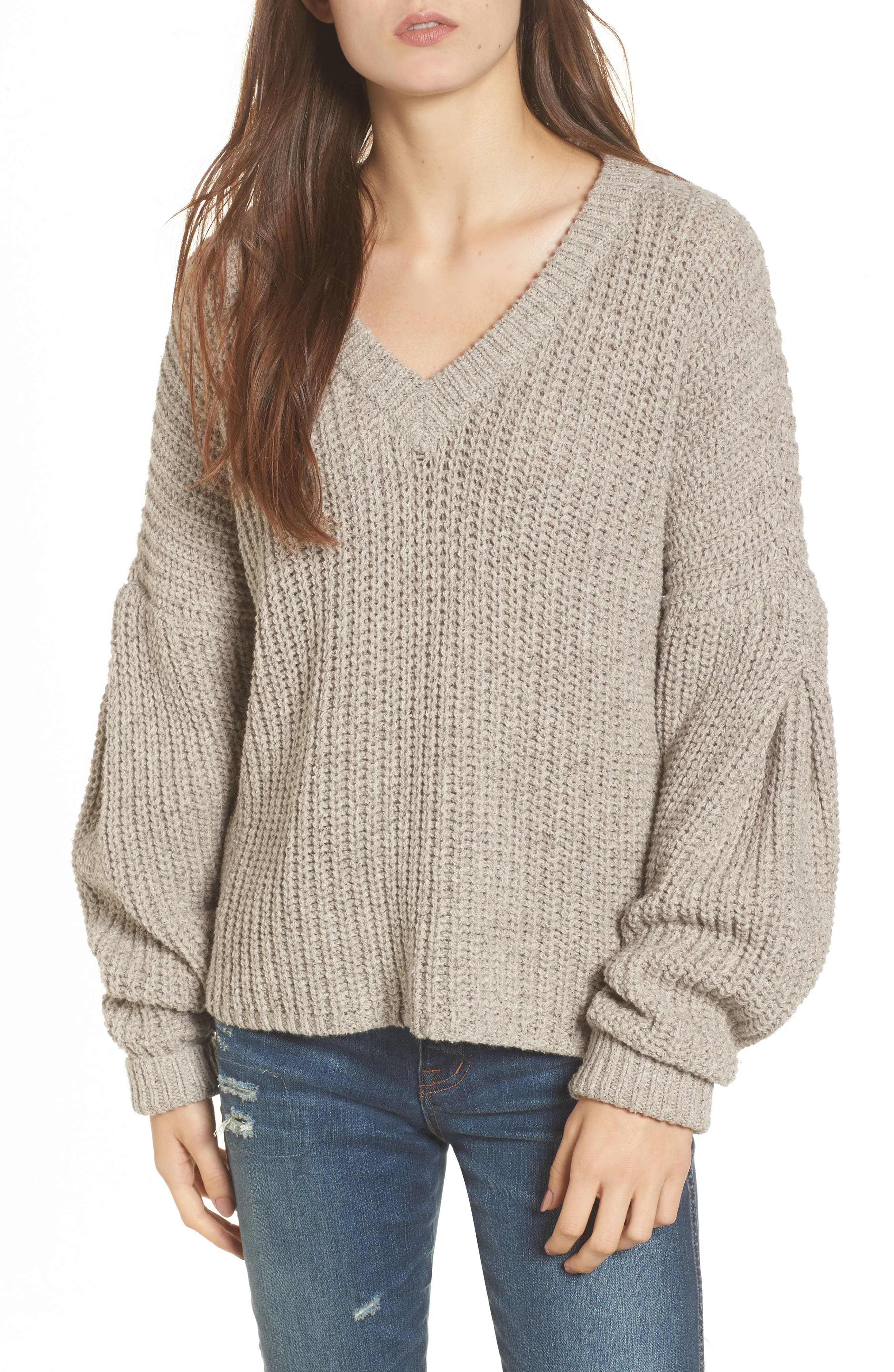 Pleat Sleeve Pullover Sweater,                             Main thumbnail 1, color,
