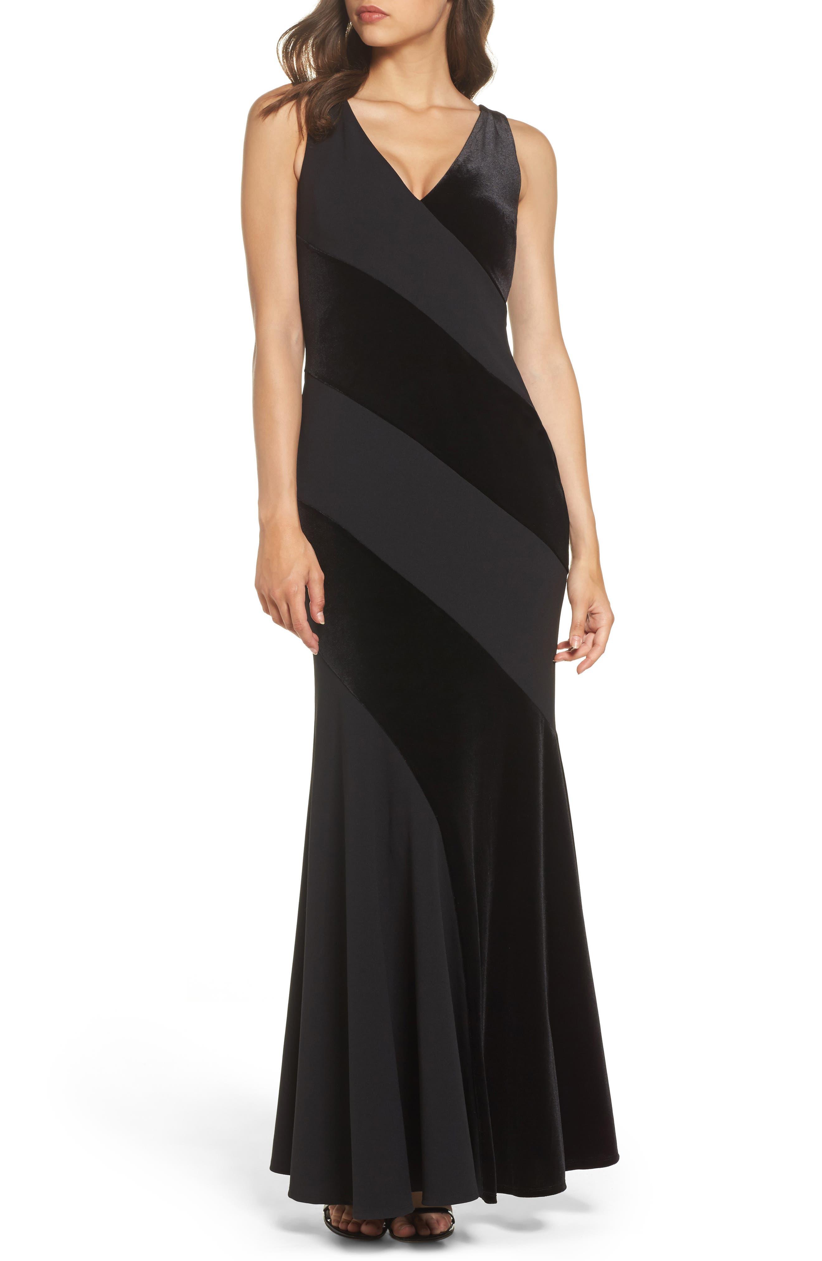 Velvet & Scuba Crepe Mermaid Gown,                         Main,                         color, 001