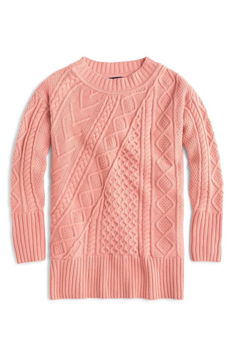 PATCHWORK CABLE KNIT OVERSIZE TUNIC SWEATER
