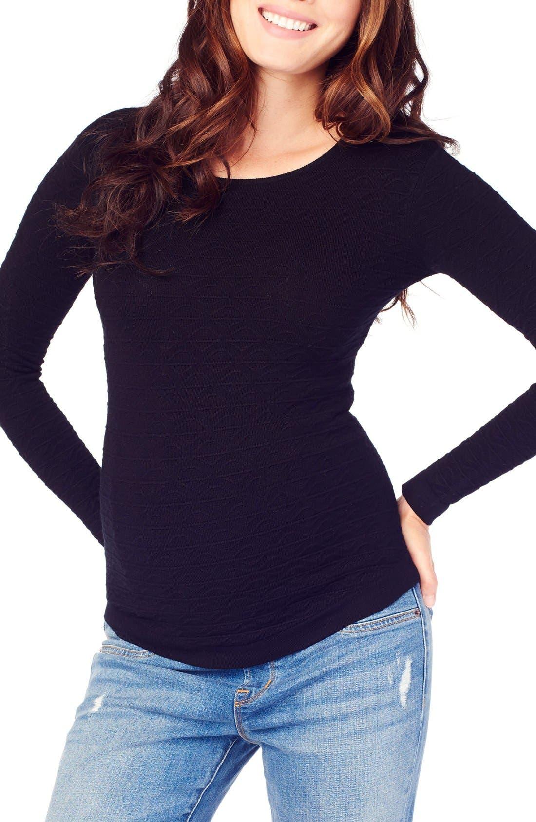 Ingrid & Isabel Textured Knit Maternity Sweater,                             Main thumbnail 1, color,                             JET BLACK