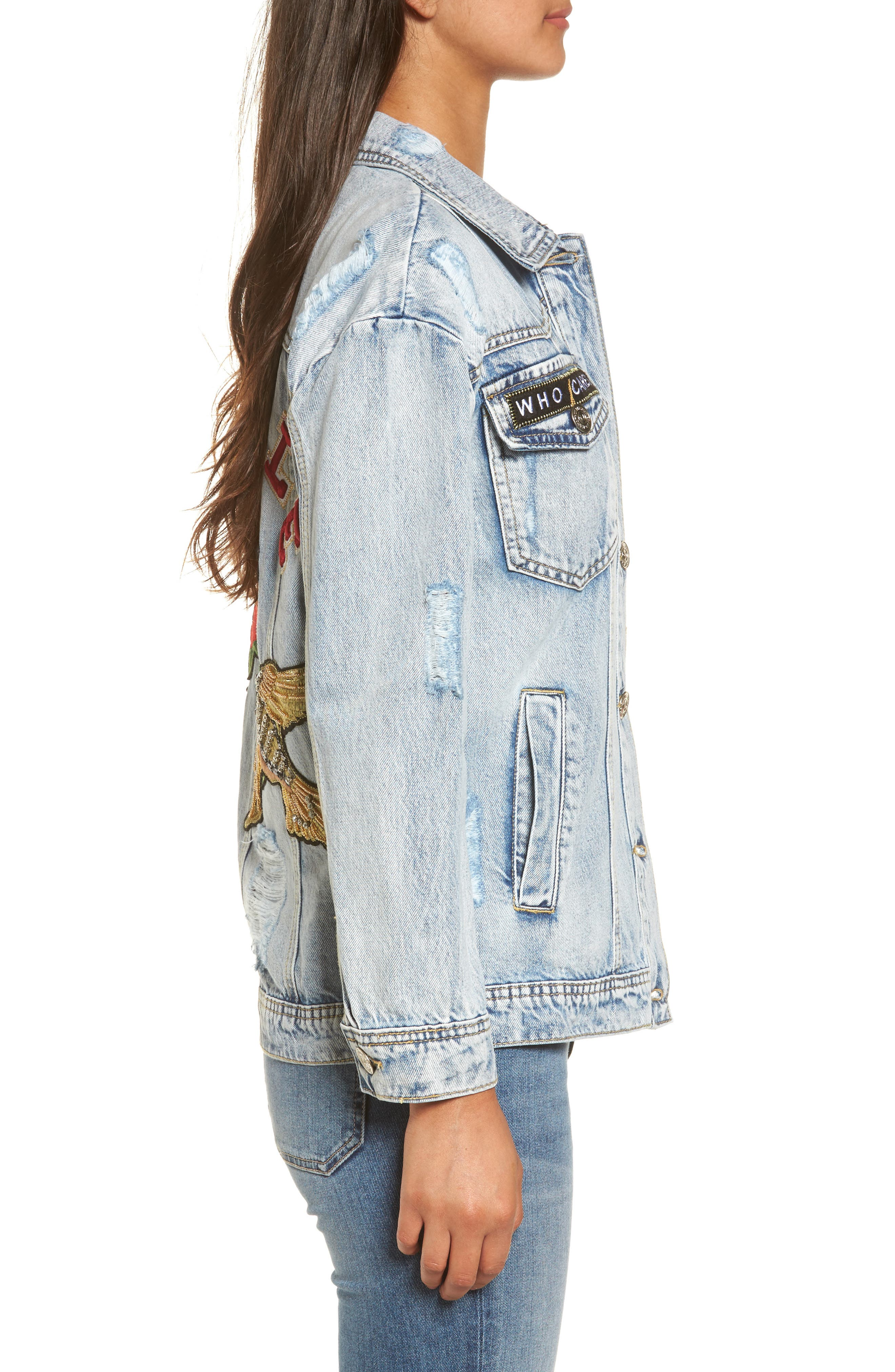 Denim Trucker Jacket,                             Alternate thumbnail 3, color,                             403