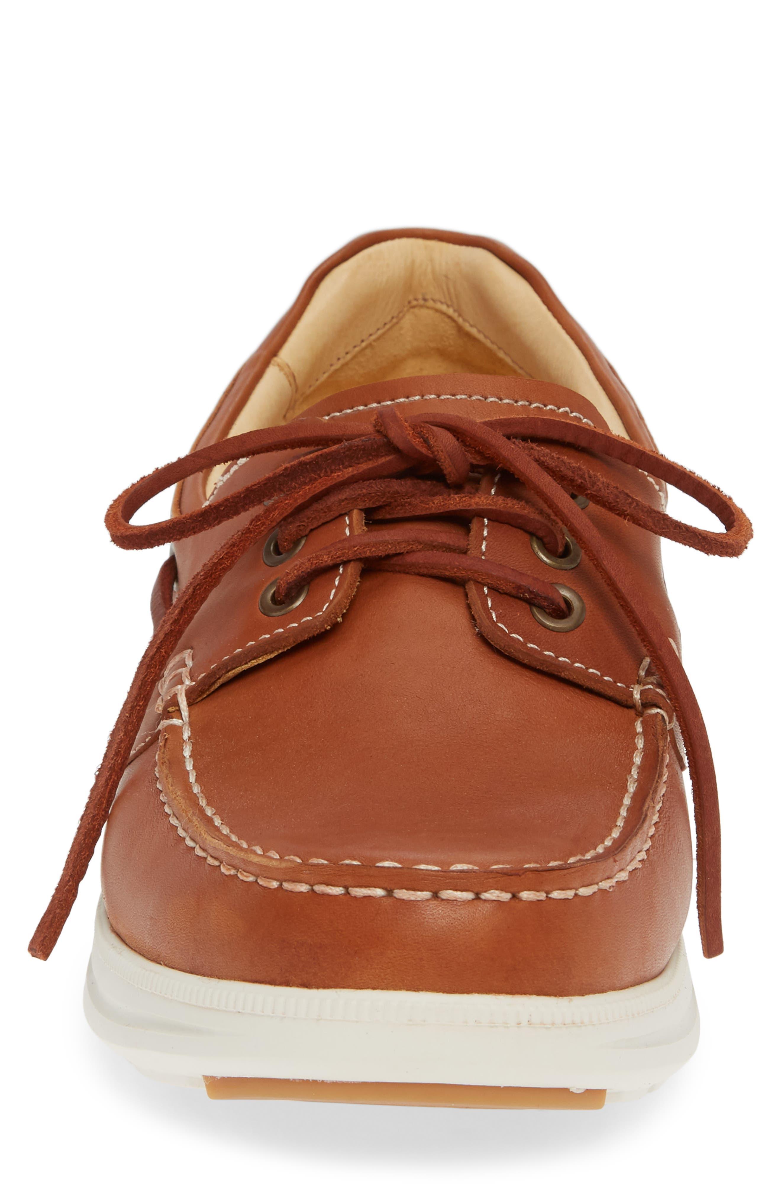 New Endeavor Moc Toe Boat Shoe,                             Alternate thumbnail 4, color,                             TAN WAXED NUBUCK