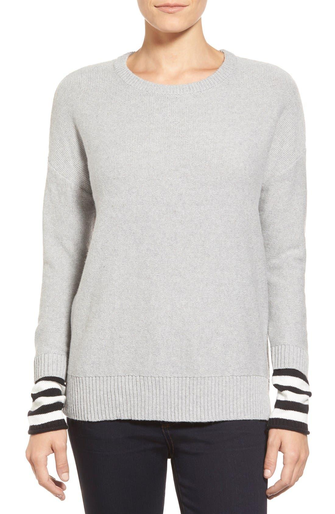 Contrast Cuff Crewneck Sweater,                             Main thumbnail 1, color,                             030