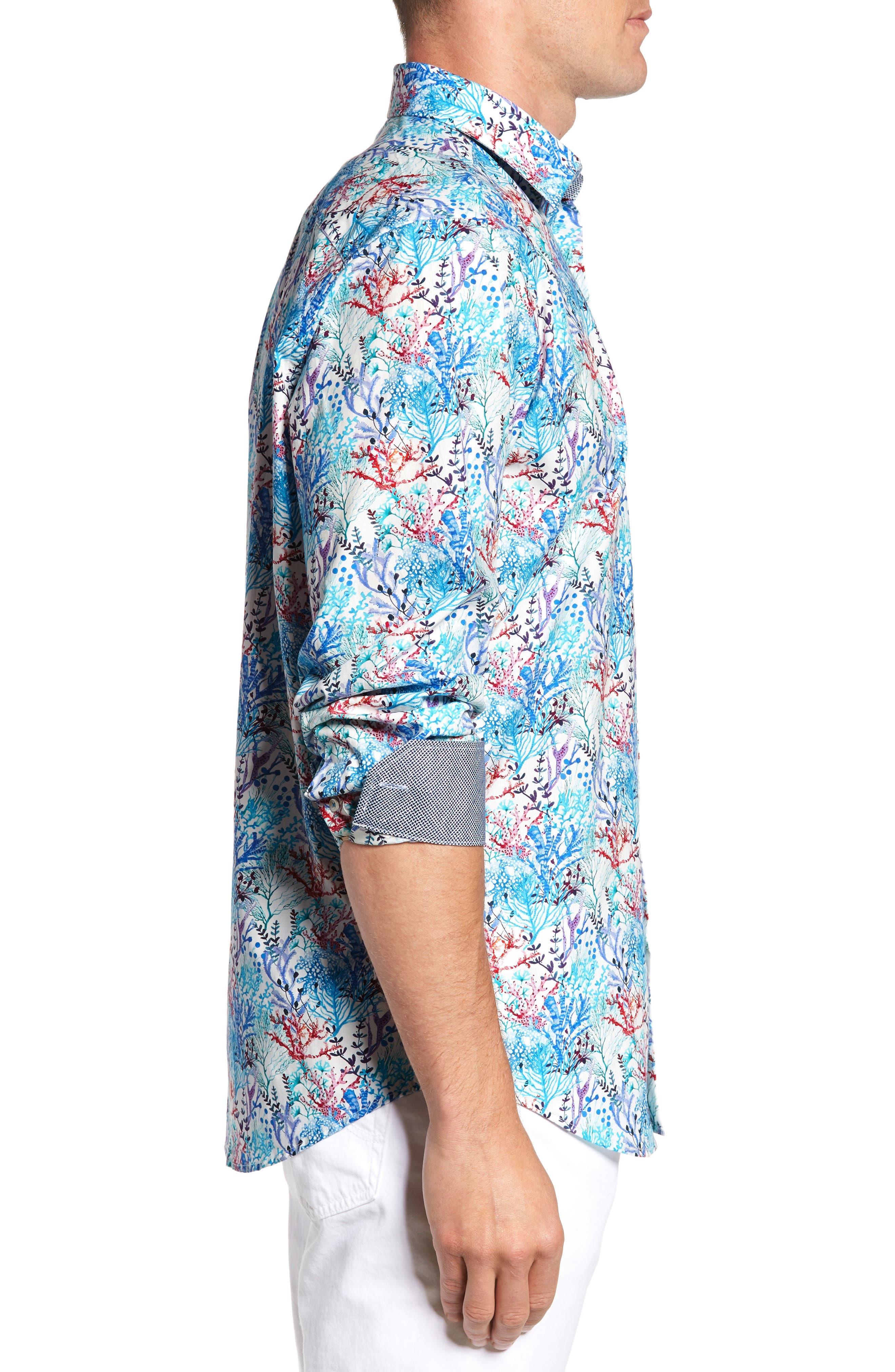 BUGATCHI,                             Classic Fit Floral Print Sport Shirt,                             Alternate thumbnail 3, color,                             425