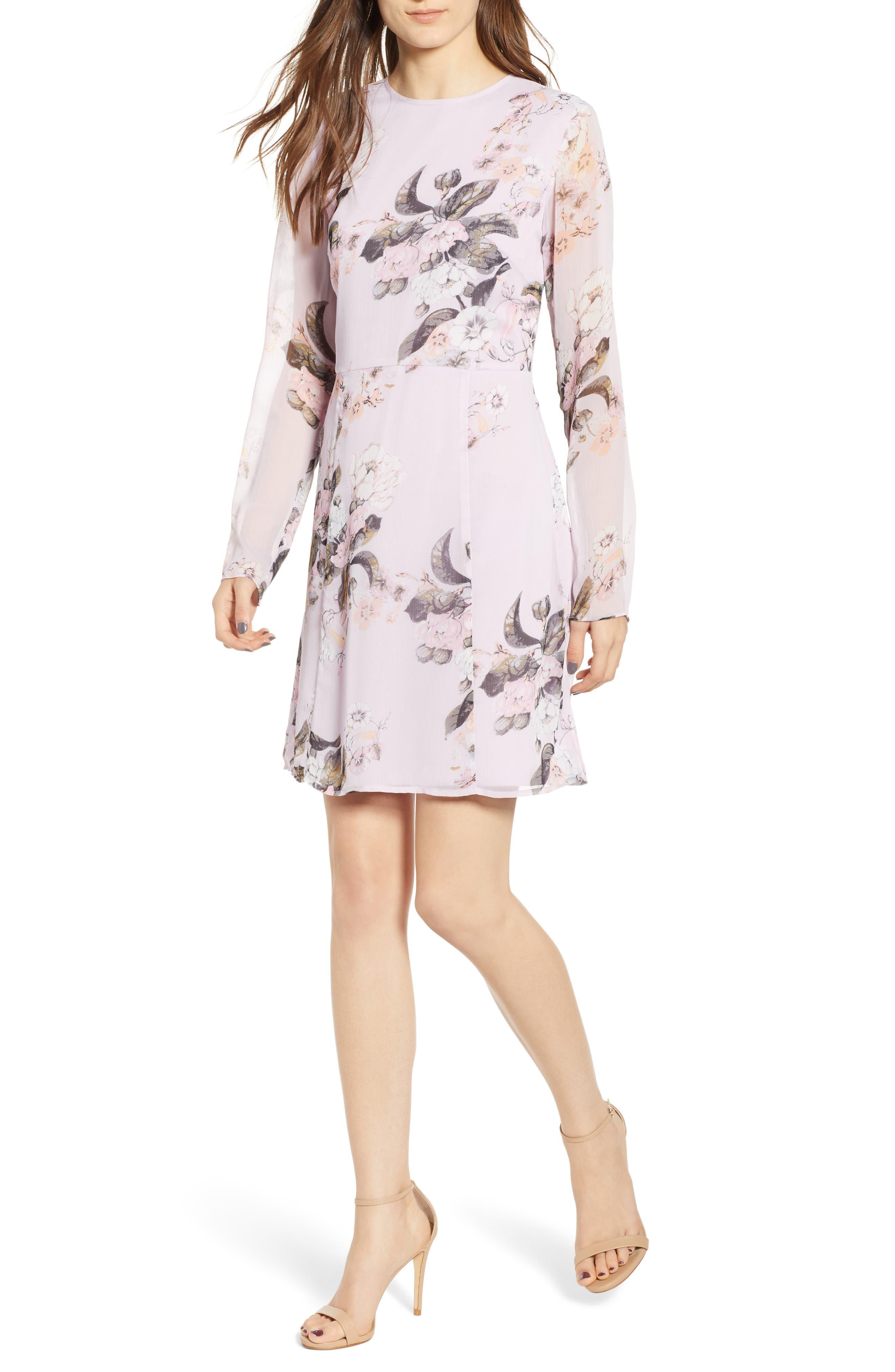Leith Long Sheer Sleeve Floral Dress, Purple