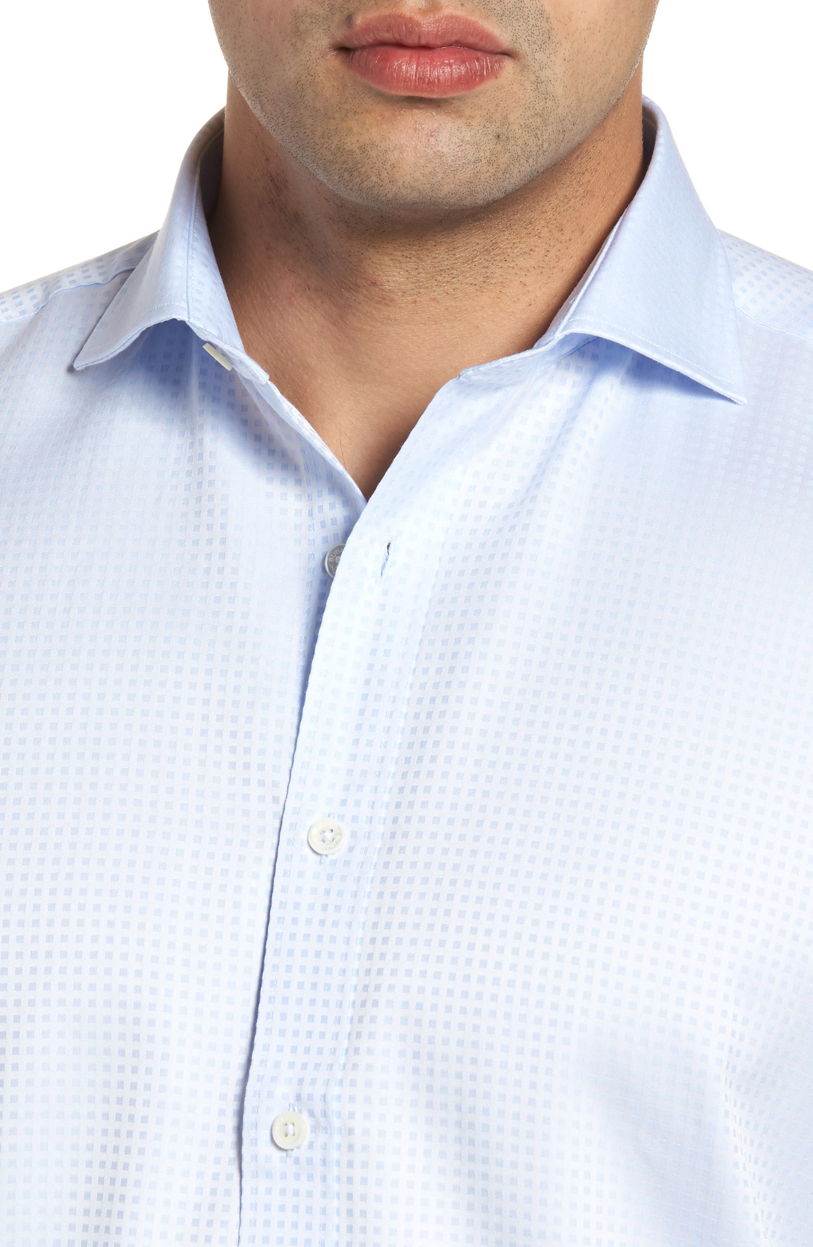 Classic Fit Pin Check Jacquard Sport Shirt,                             Alternate thumbnail 4, color,                             459