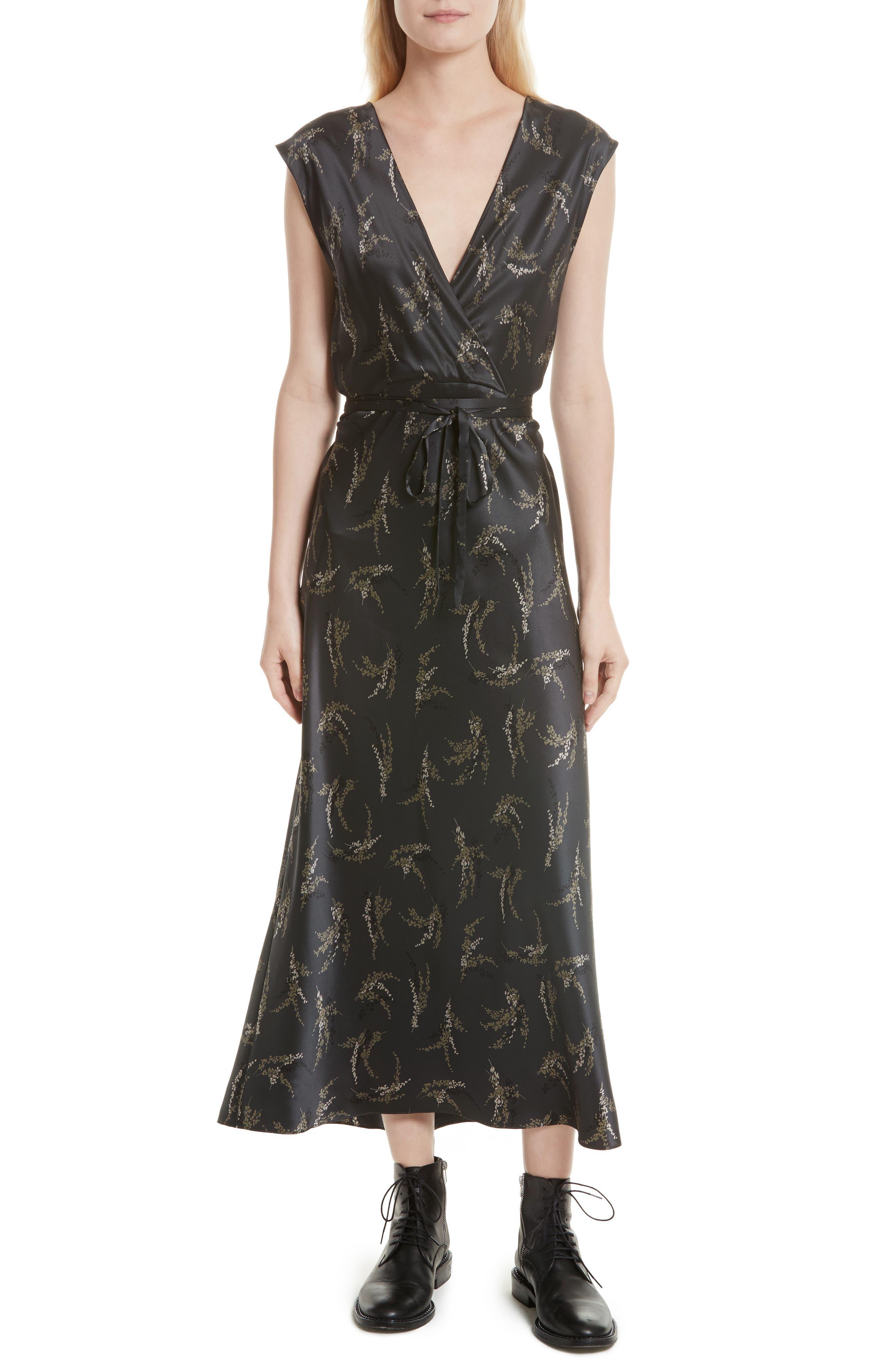 Spring Floral Faux Wrap Silk Dress,                         Main,                         color, 021