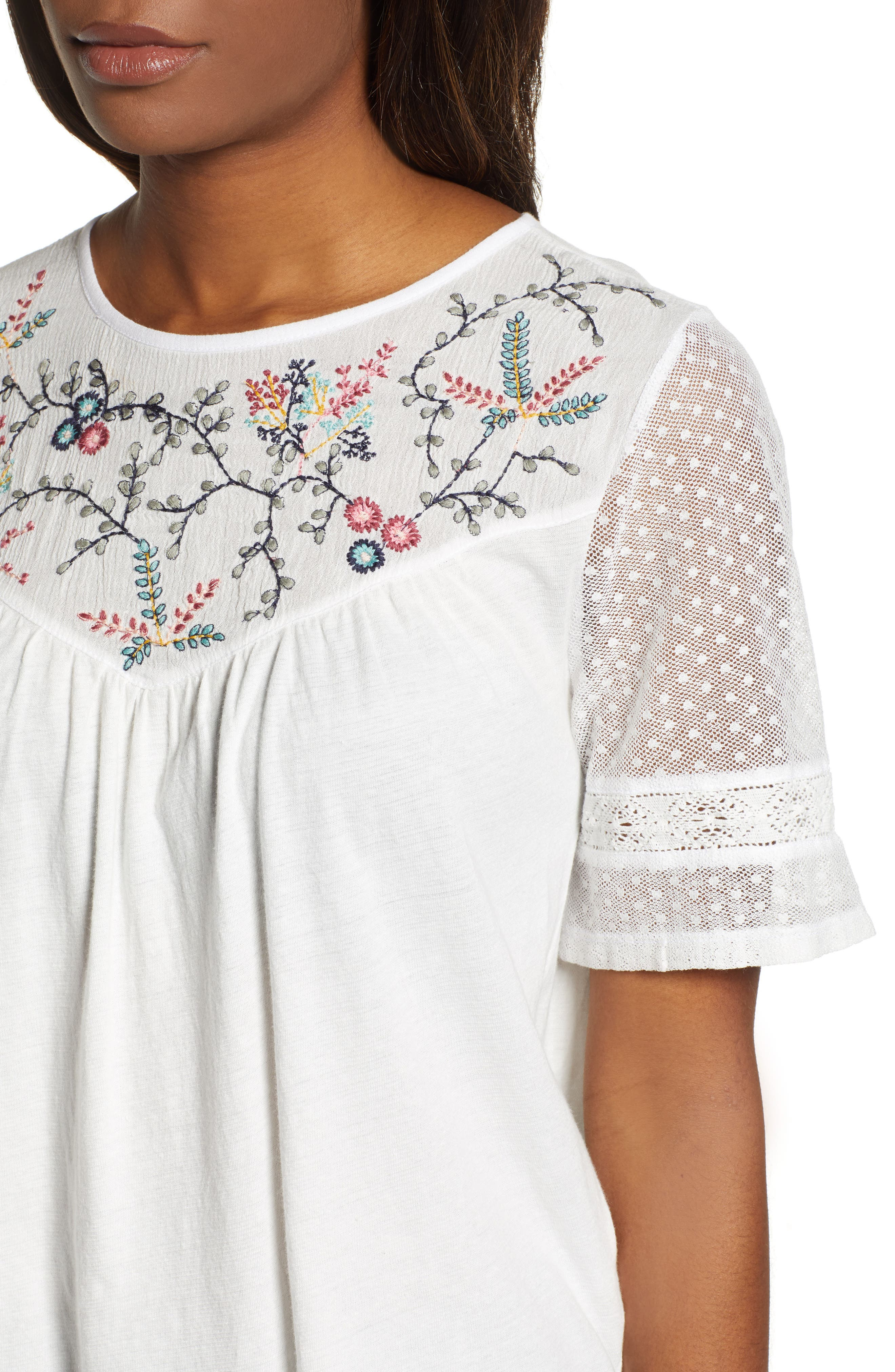 LUCKY BRAND,                             Embroidered Yoke Peasant Top,                             Alternate thumbnail 4, color,                             LUCKY WHITE
