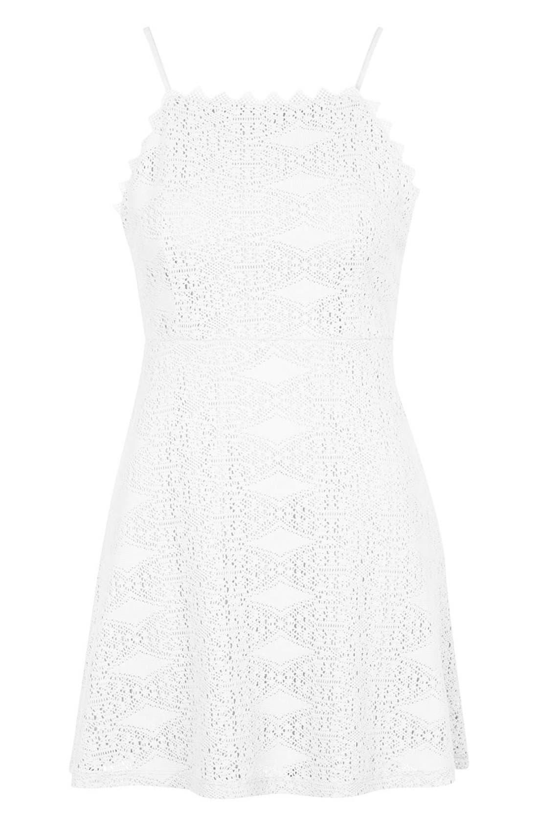 TOPSHOP,                             Crochet Dress,                             Alternate thumbnail 3, color,                             900
