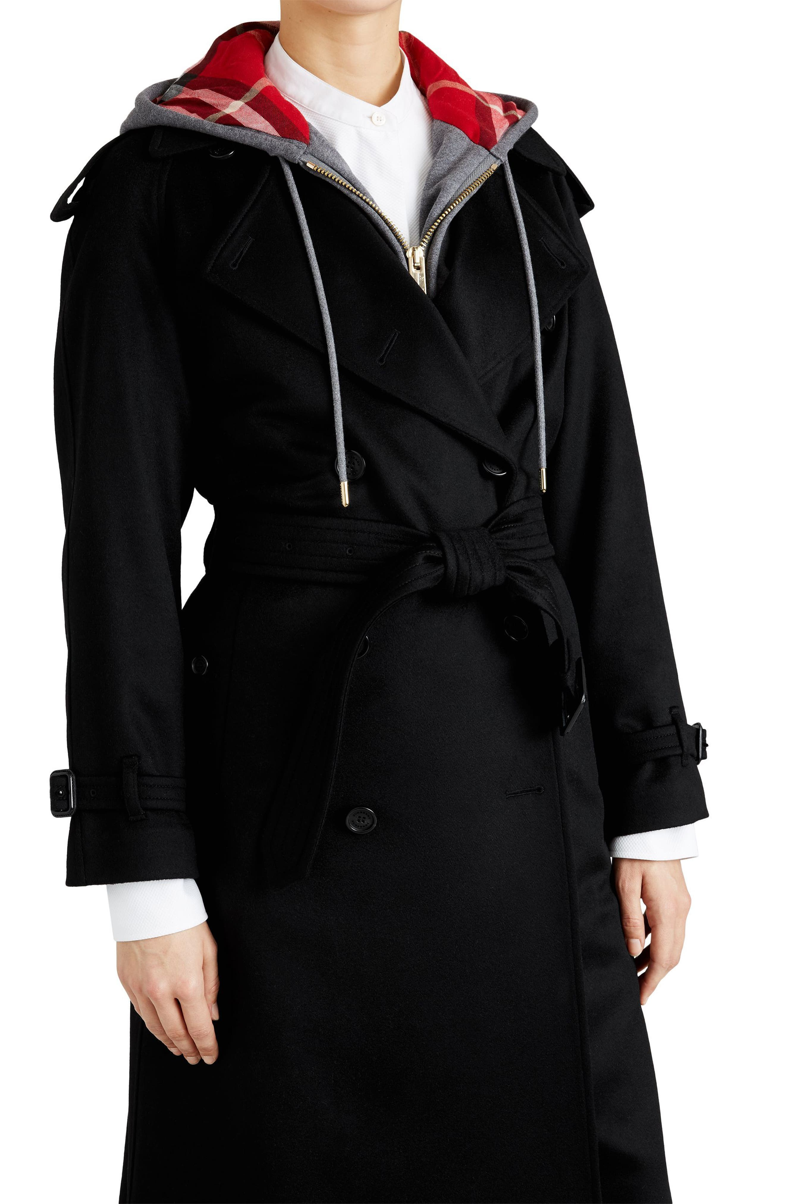 Eastheath Cashmere Trench Coat,                             Alternate thumbnail 4, color,                             BLACK