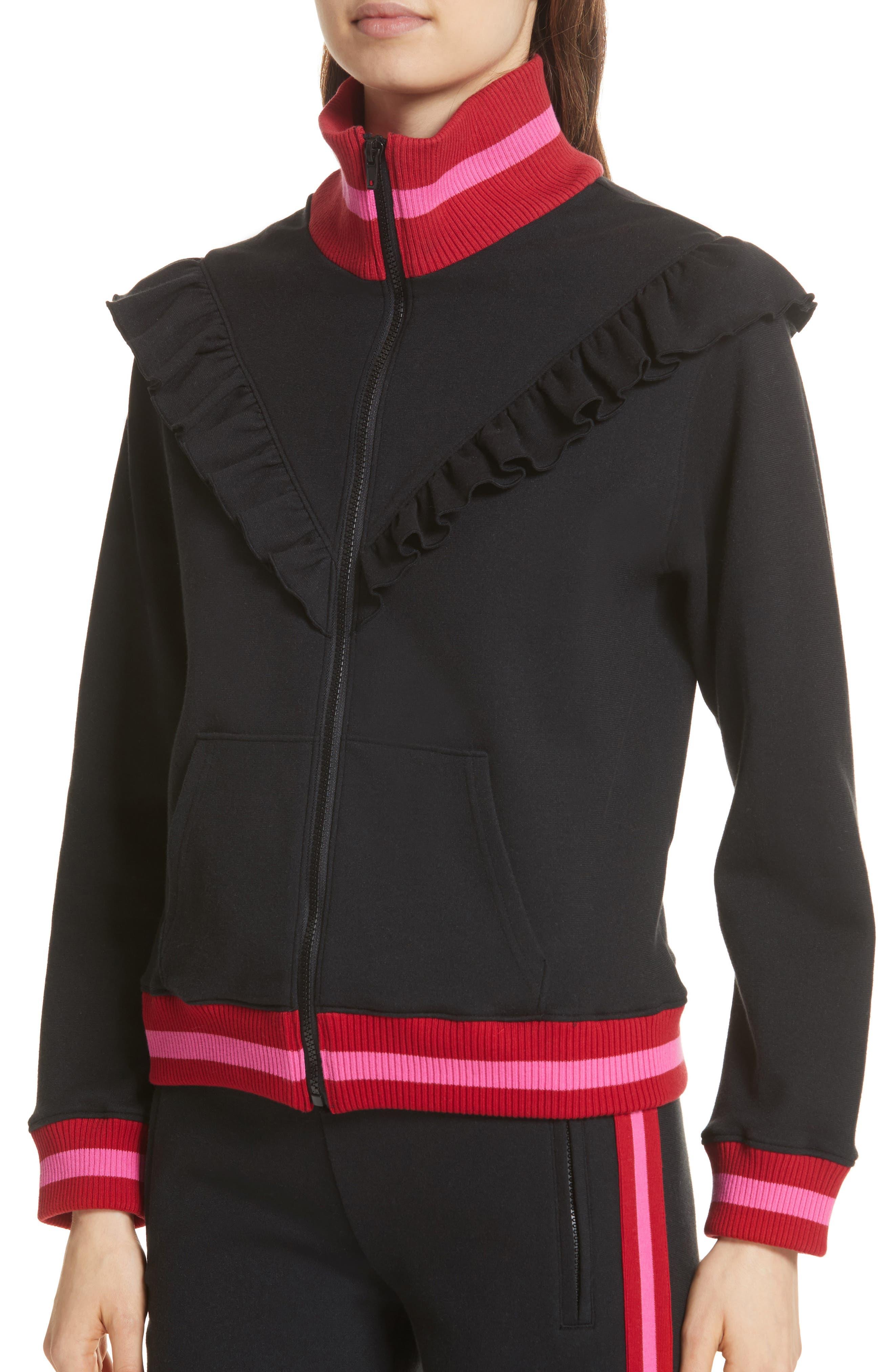 Deetra Rib Knit Trim Jacket,                             Alternate thumbnail 4, color,                             001