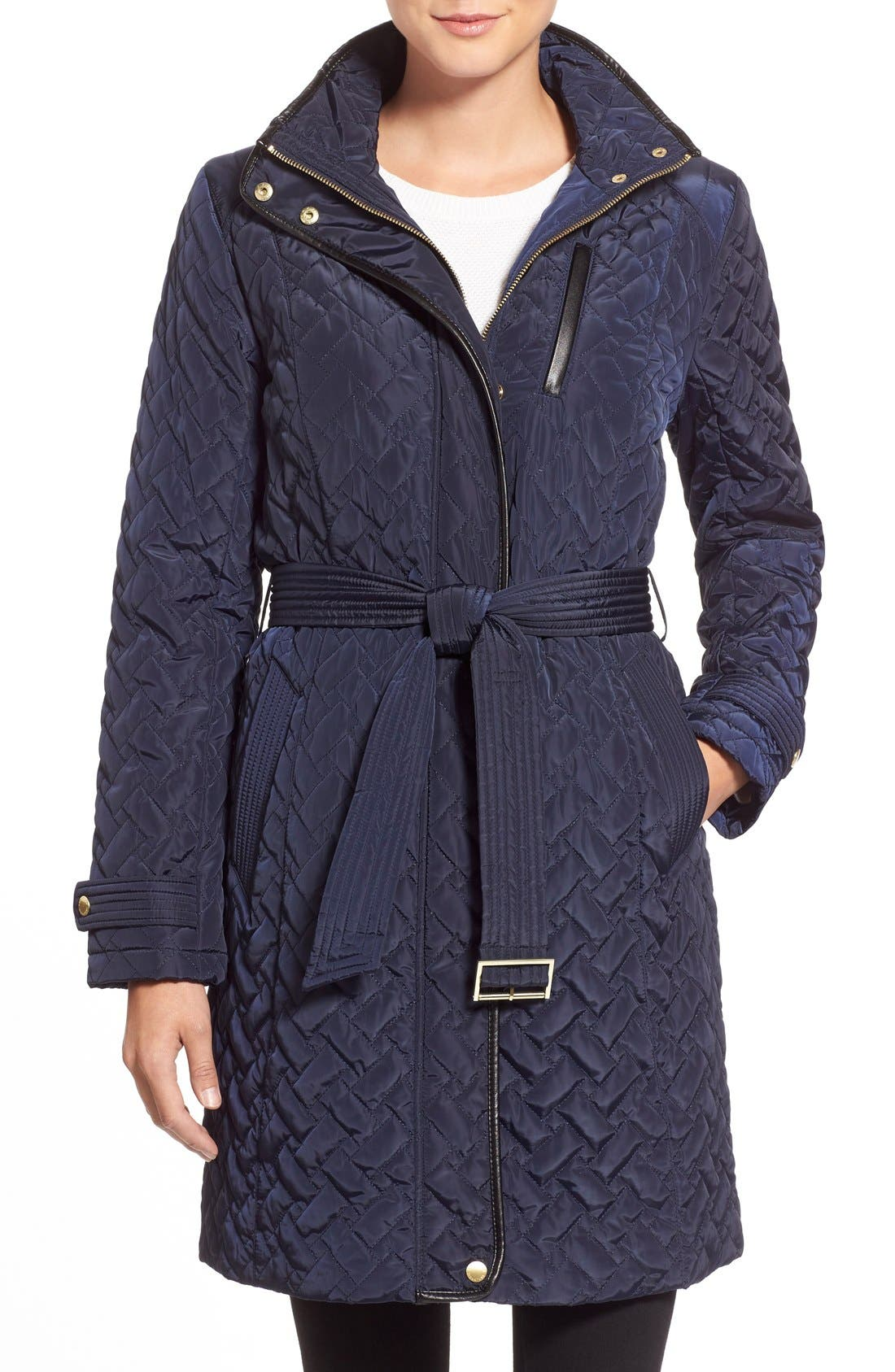 Belted Quilted Coat,                             Main thumbnail 4, color,