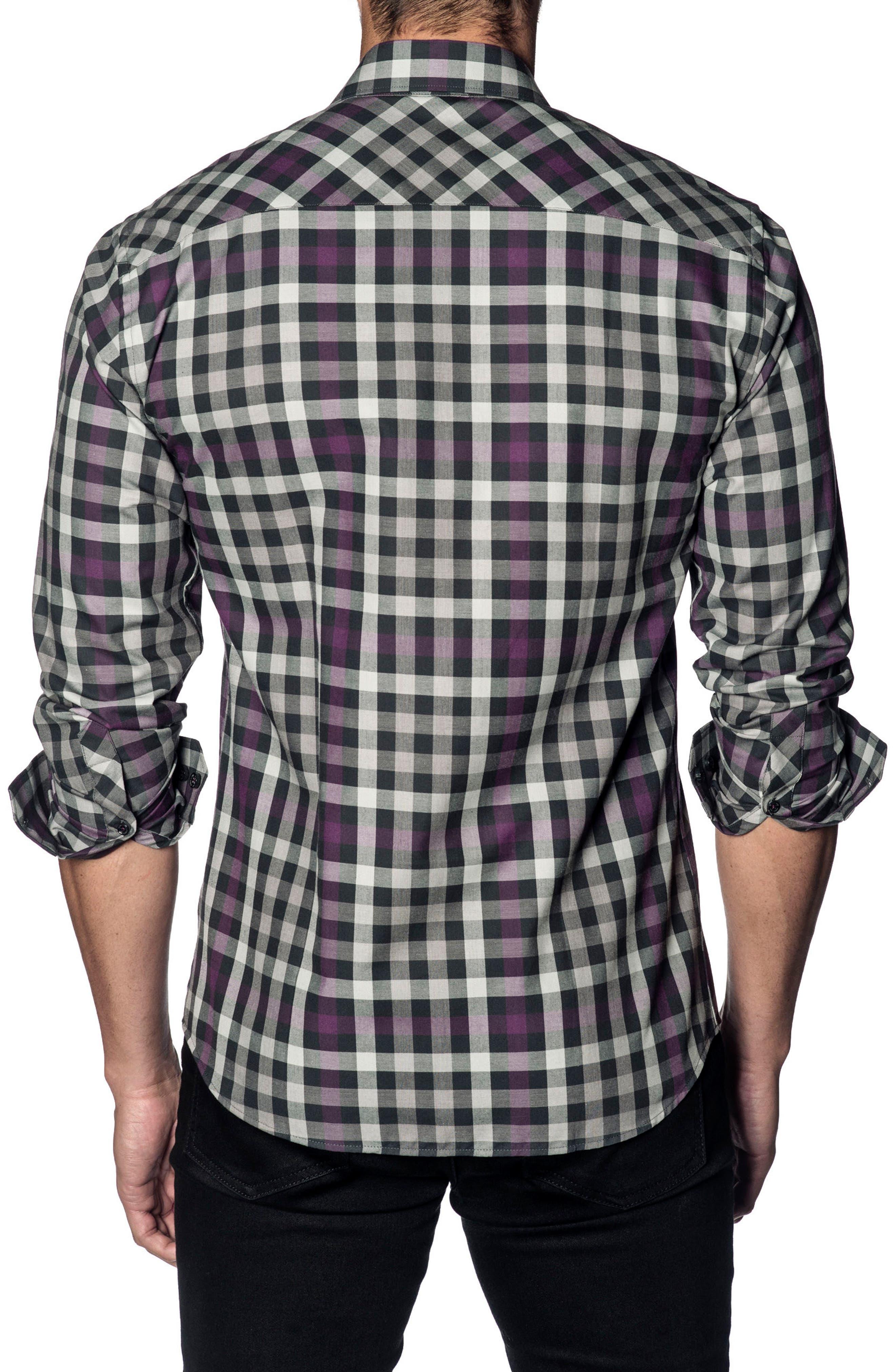 Slim Fit Check Sport Shirt,                             Alternate thumbnail 2, color,                             WHITE BLACK PURPLE CHECK