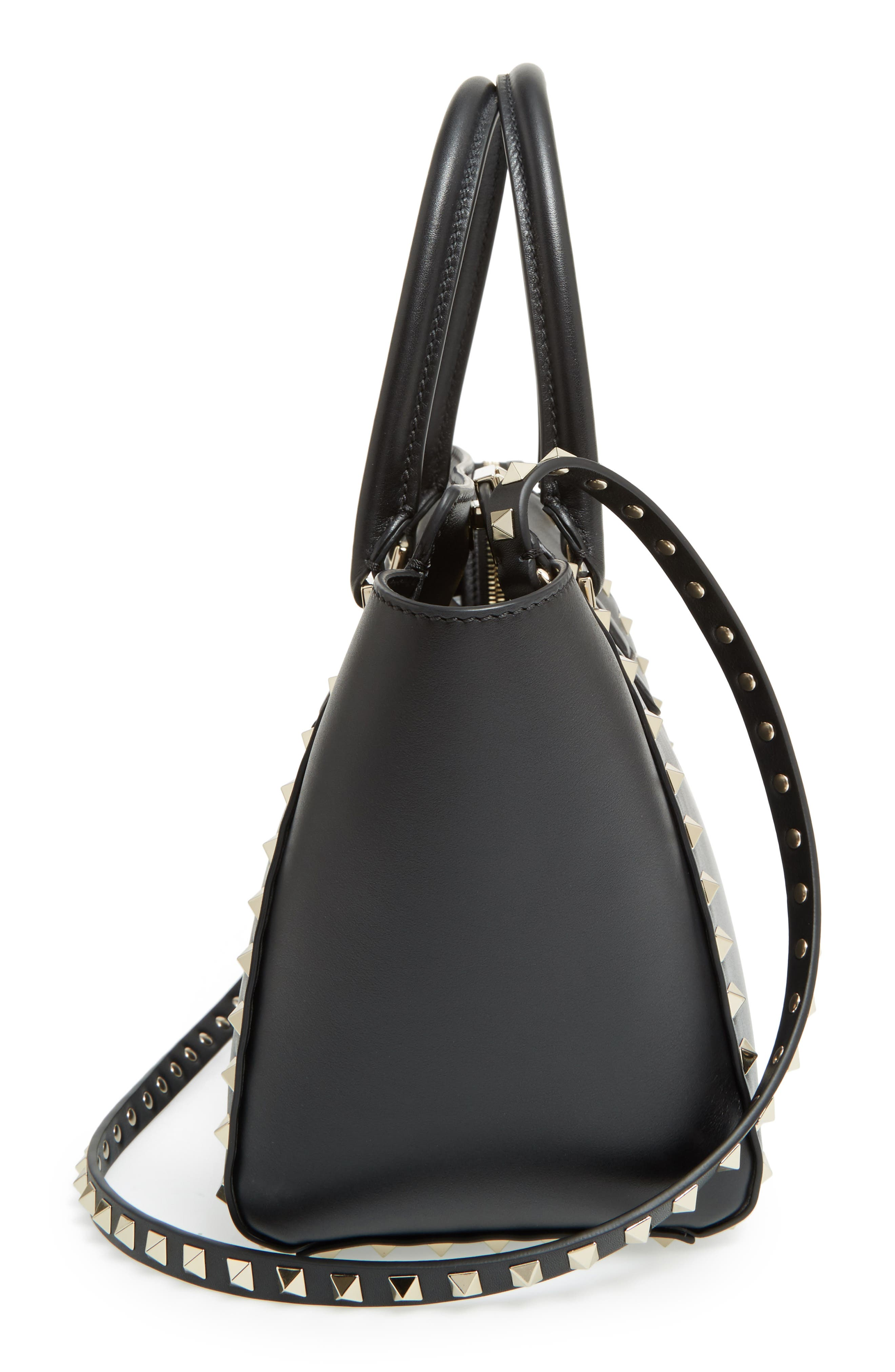 Rockstud Small Double Handle Leather Tote,                             Alternate thumbnail 5, color,                             001