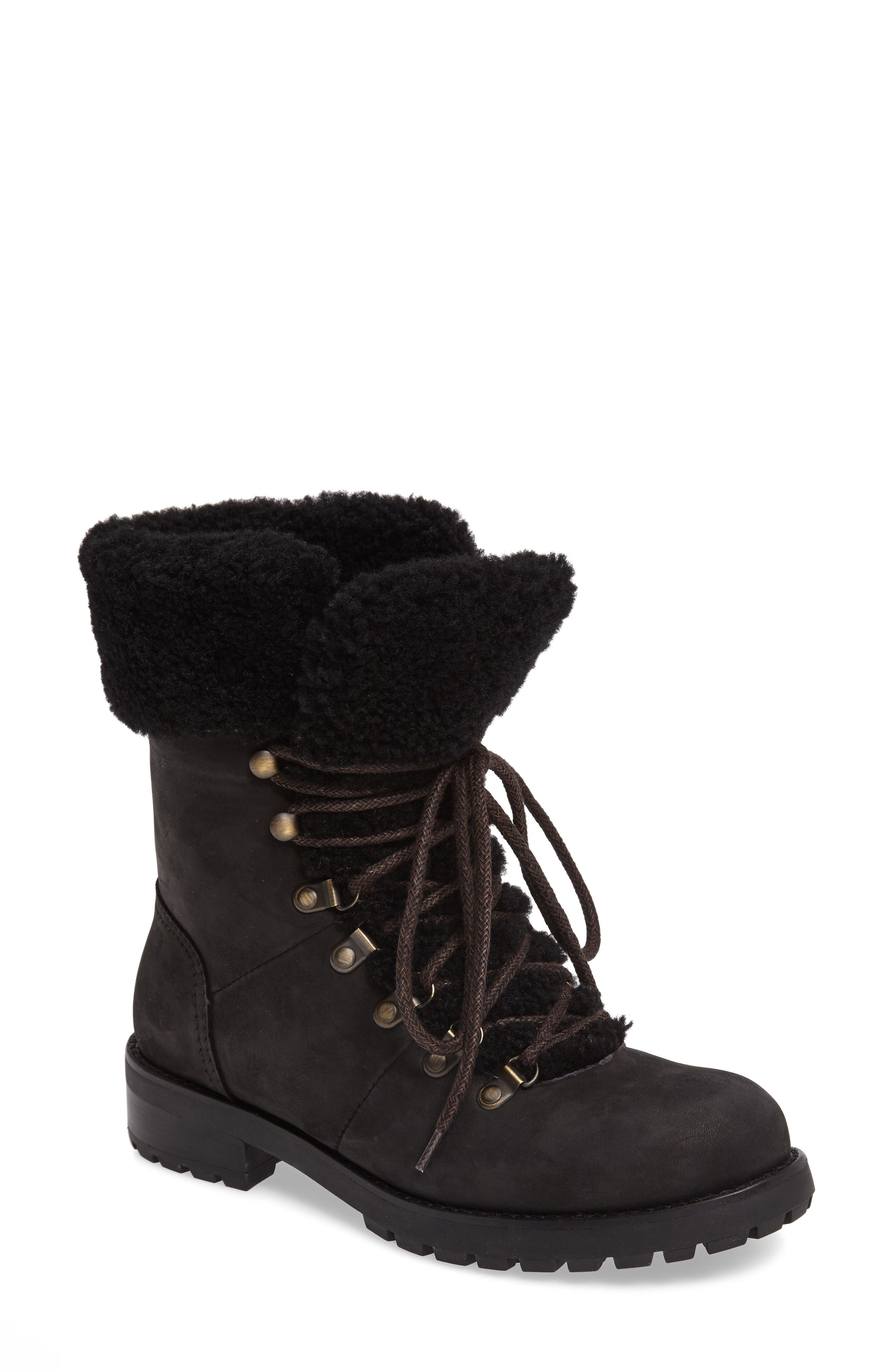 Fraser Genuine Shearling Water Resistant Boot,                         Main,                         color, 001