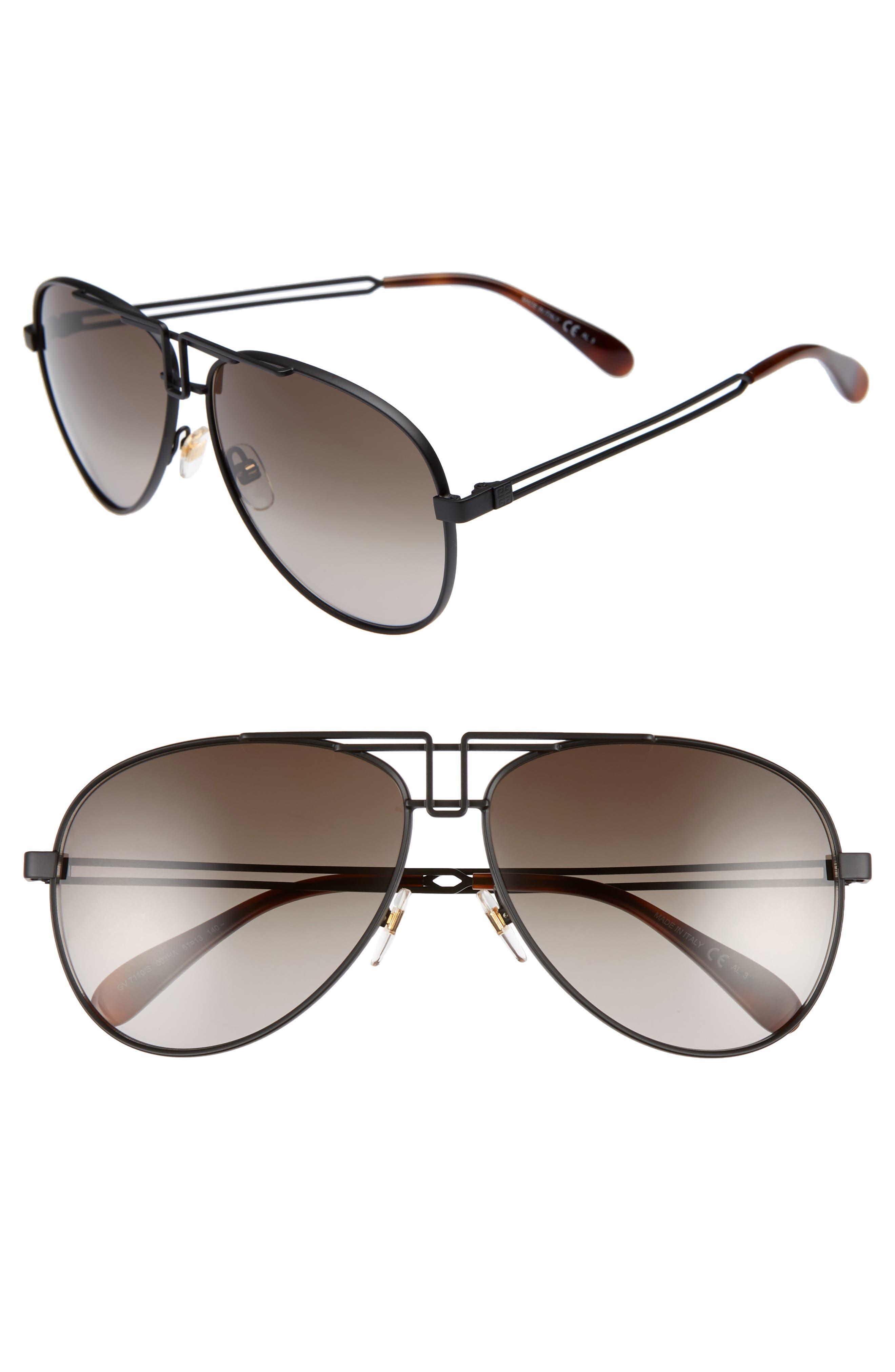 61mm Aviator Sunglasses,                         Main,                         color, MATTE BLACK