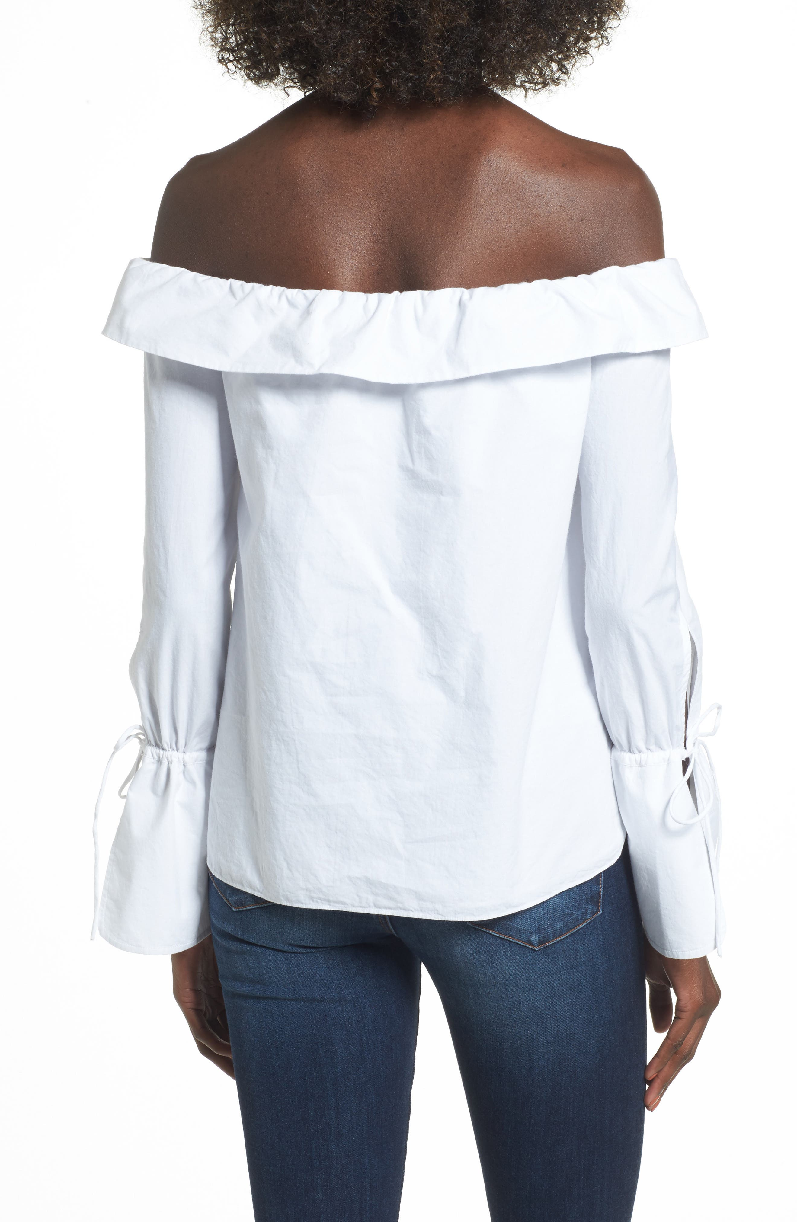 L'Academie Aria Off the Shoulder Blouse,                             Alternate thumbnail 2, color,                             100