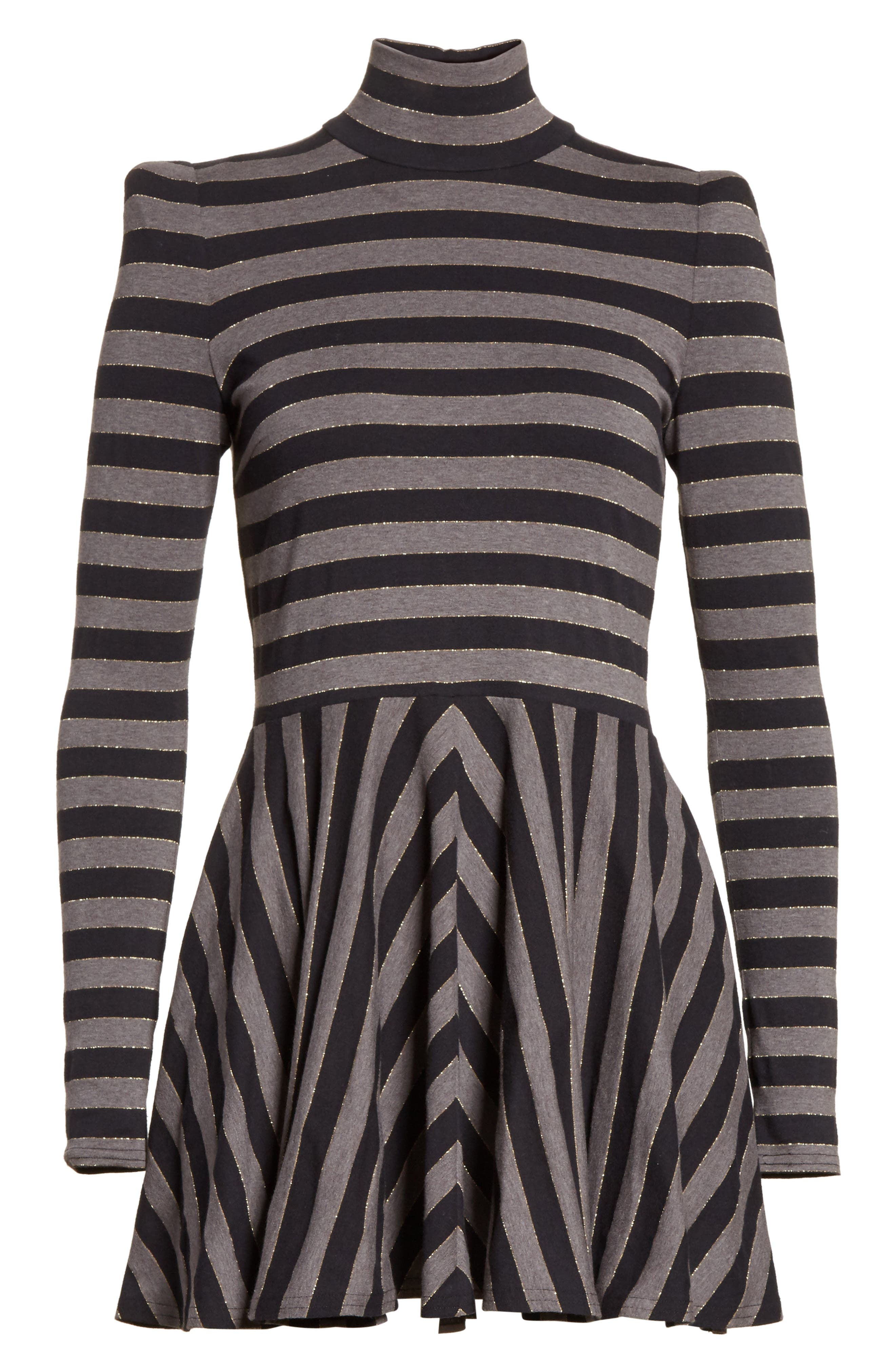 Stripe Jersey Fit & Flare Dress,                             Alternate thumbnail 6, color,                             060