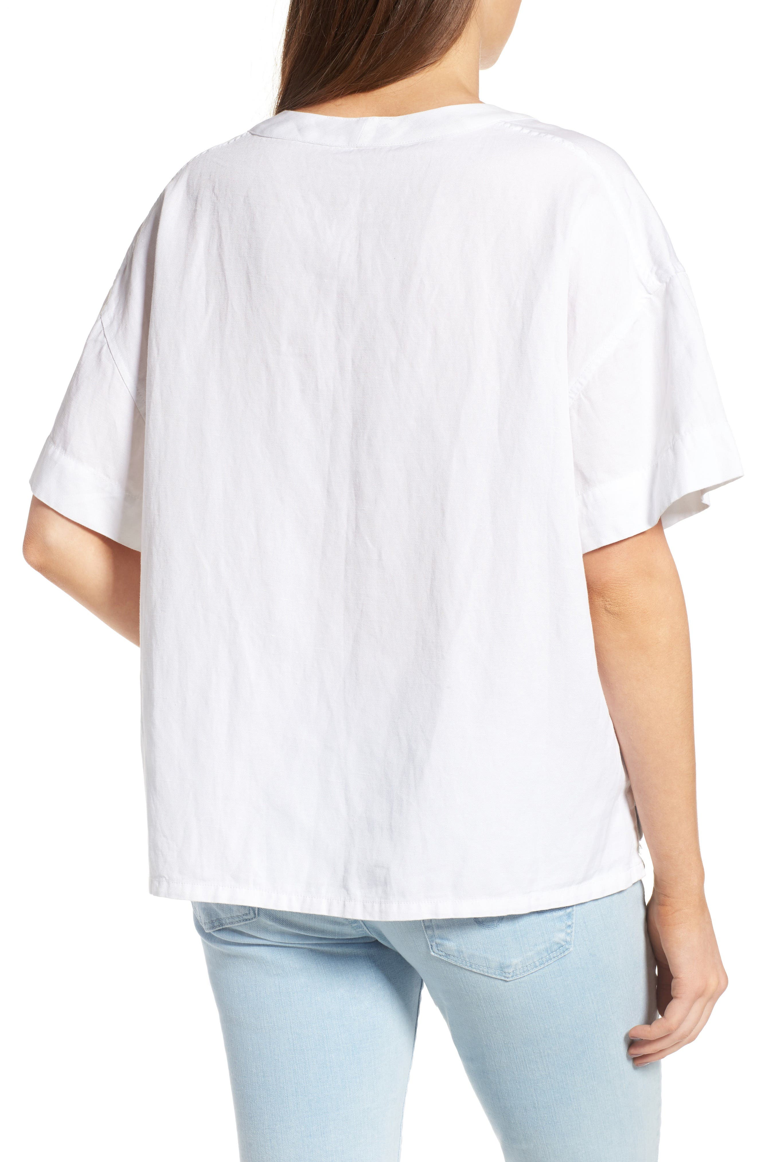 Kelly Lace-Up Cotton Top,                             Alternate thumbnail 2, color,                             100