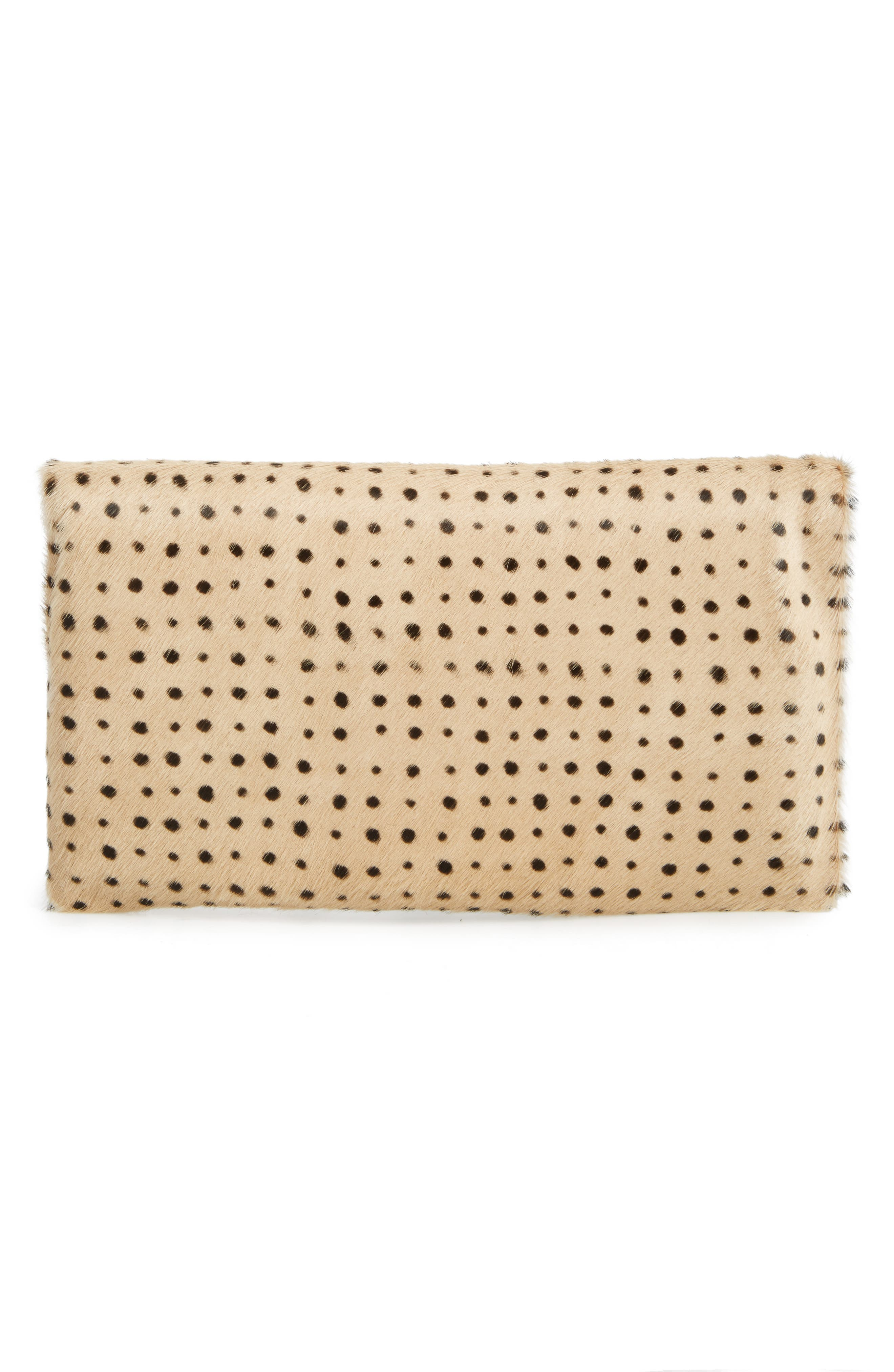 Genuine Calf Hair Foldover Clutch,                             Alternate thumbnail 3, color,                             TAN SPOTTED HAIR ON