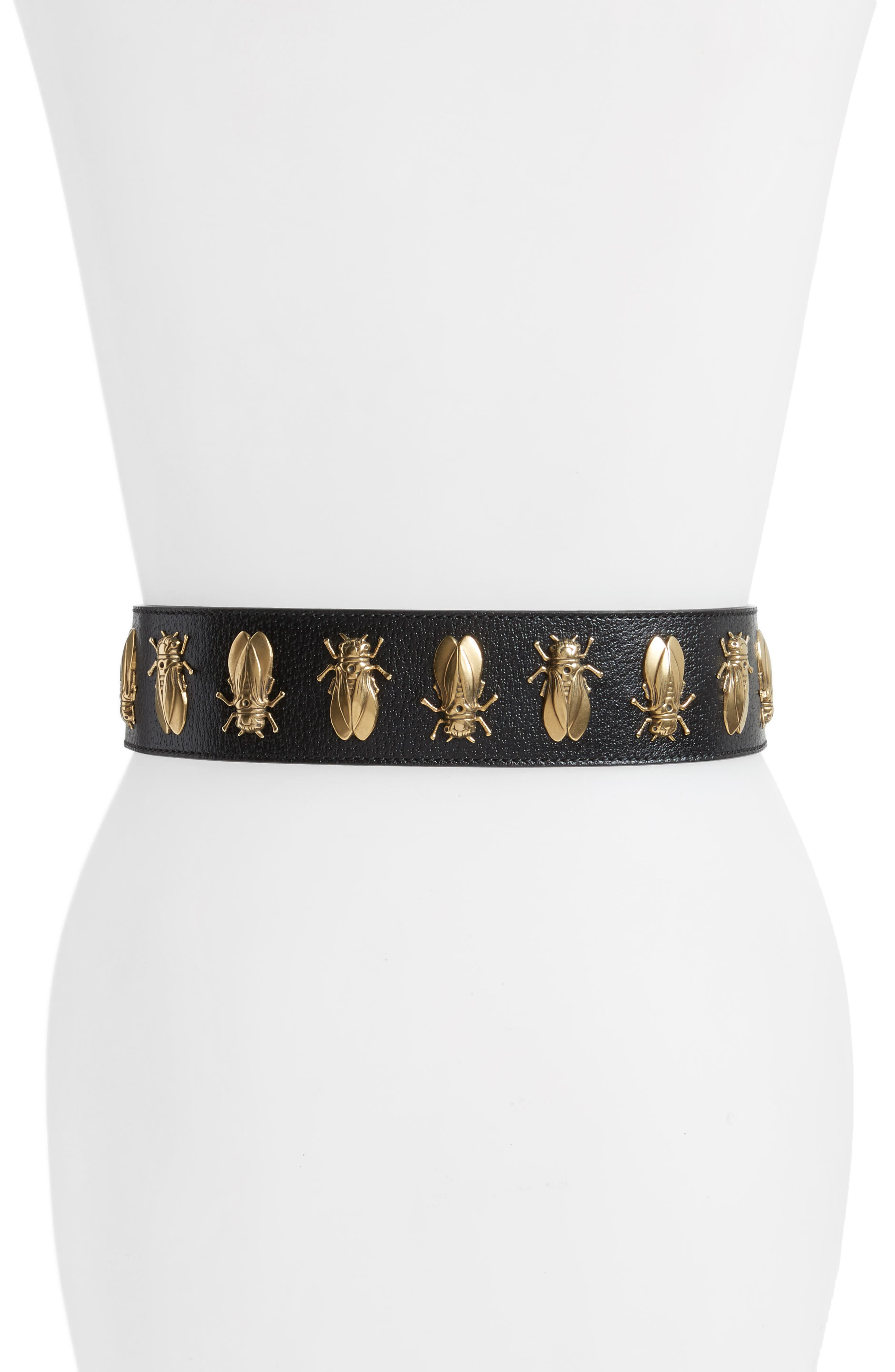 Bees Leather Belt,                             Alternate thumbnail 2, color,