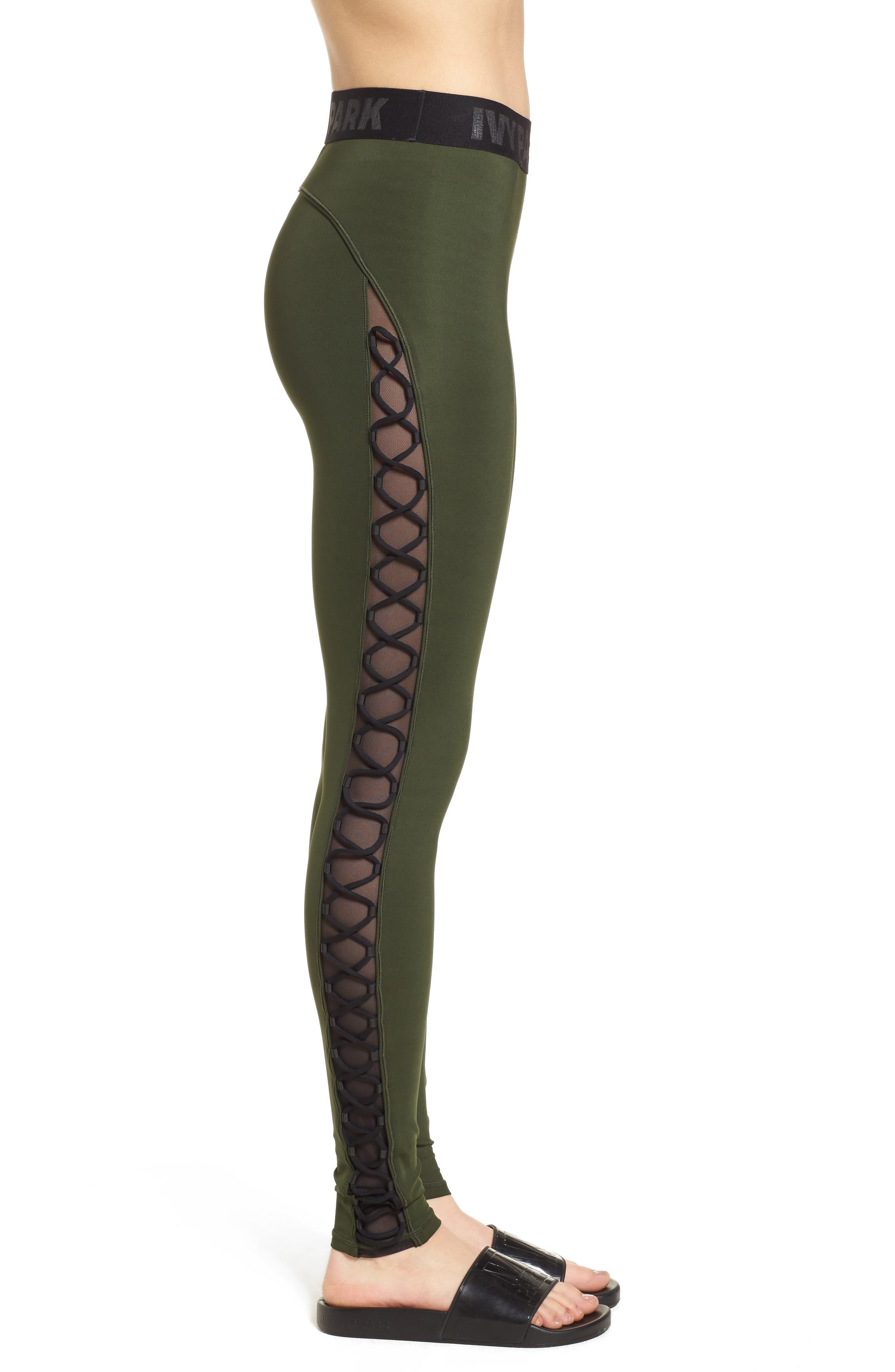 Mesh Lace-Up Leggings,                             Alternate thumbnail 3, color,                             310