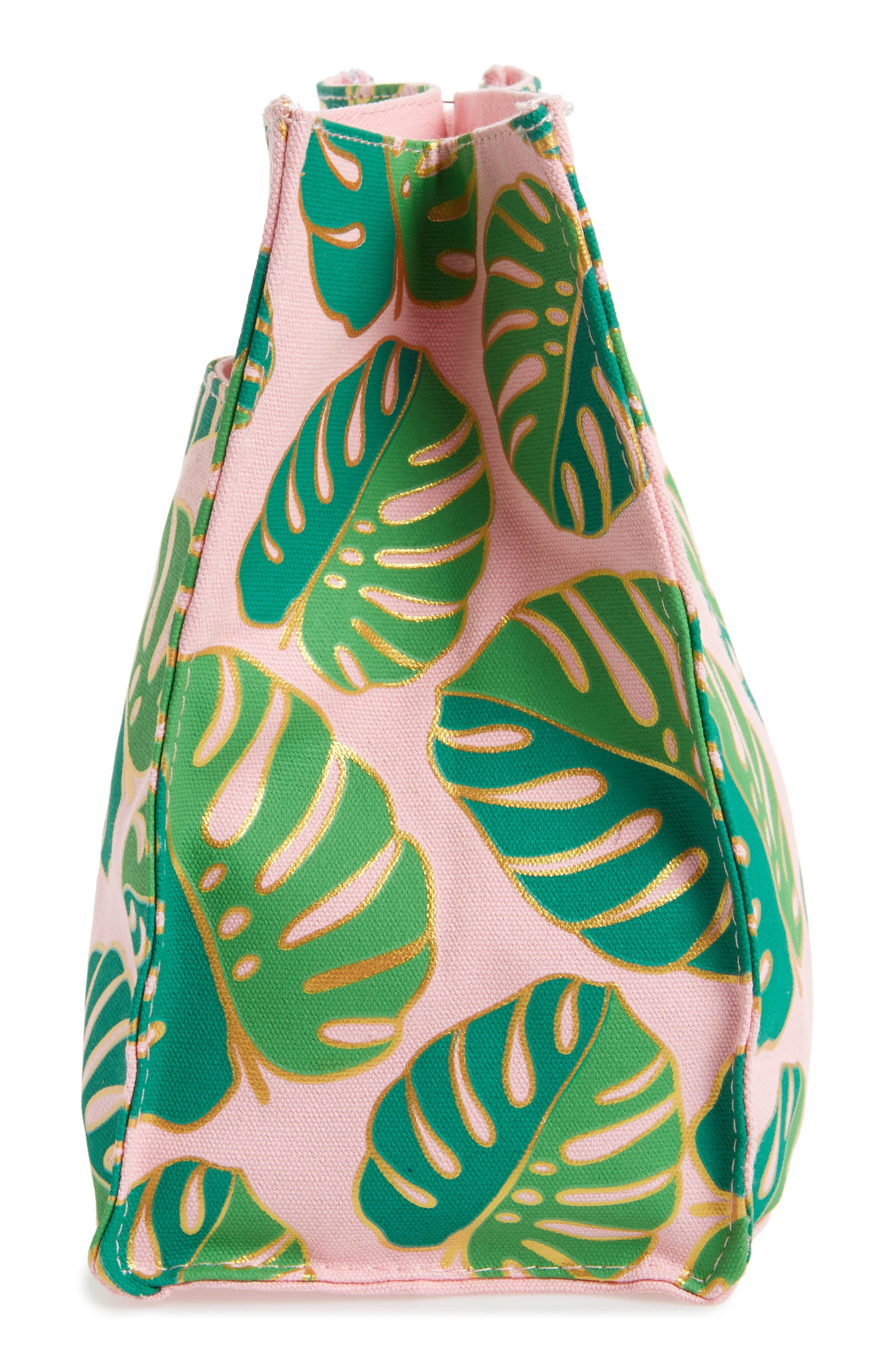 SLANT COLLECTIONS,                             Monstera Print Canvas Tote,                             Alternate thumbnail 4, color,                             653