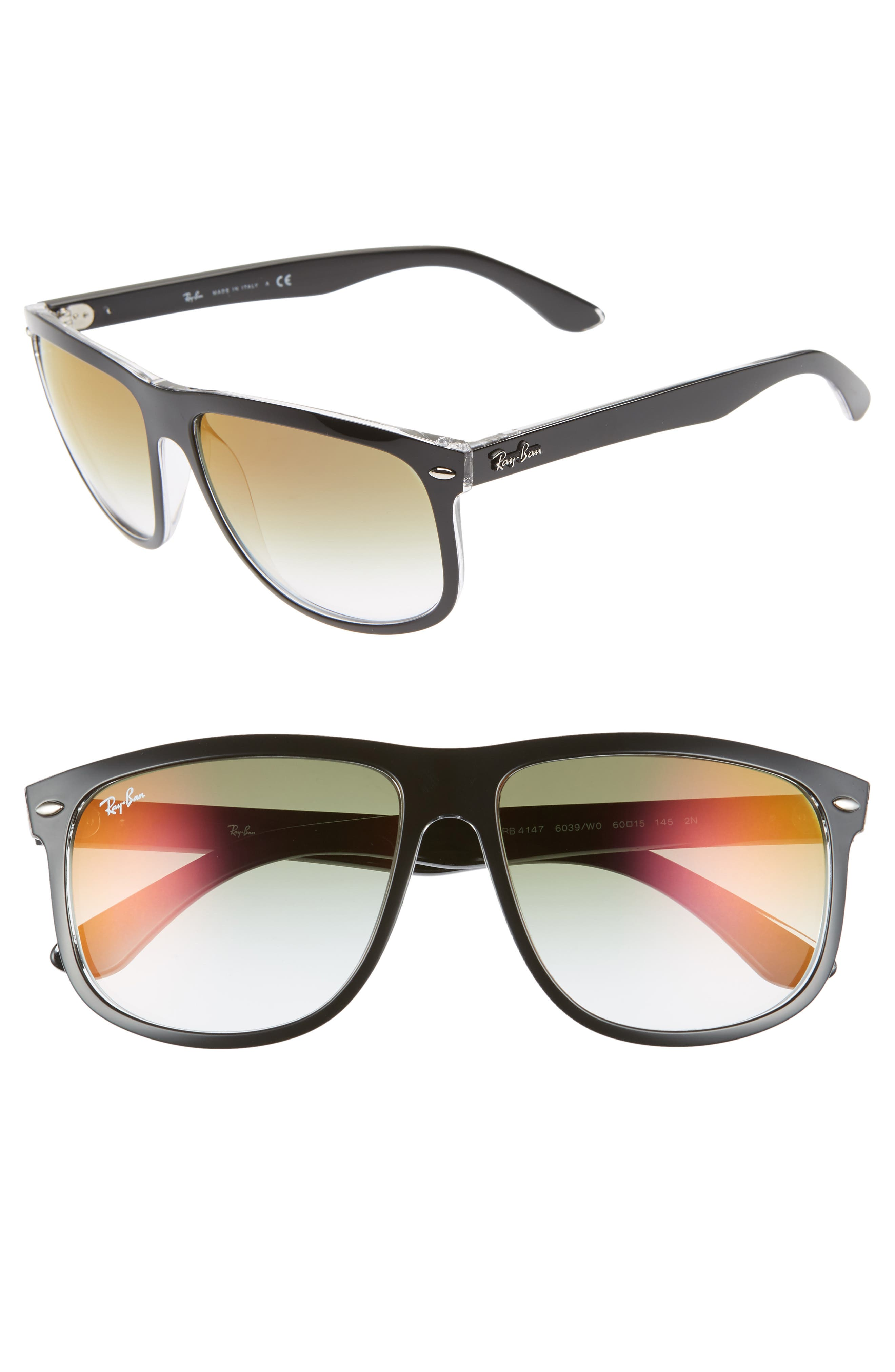 Ray-Ban 60Mm Mirrored Sunglasses - Shiny Black Gradient Mirror