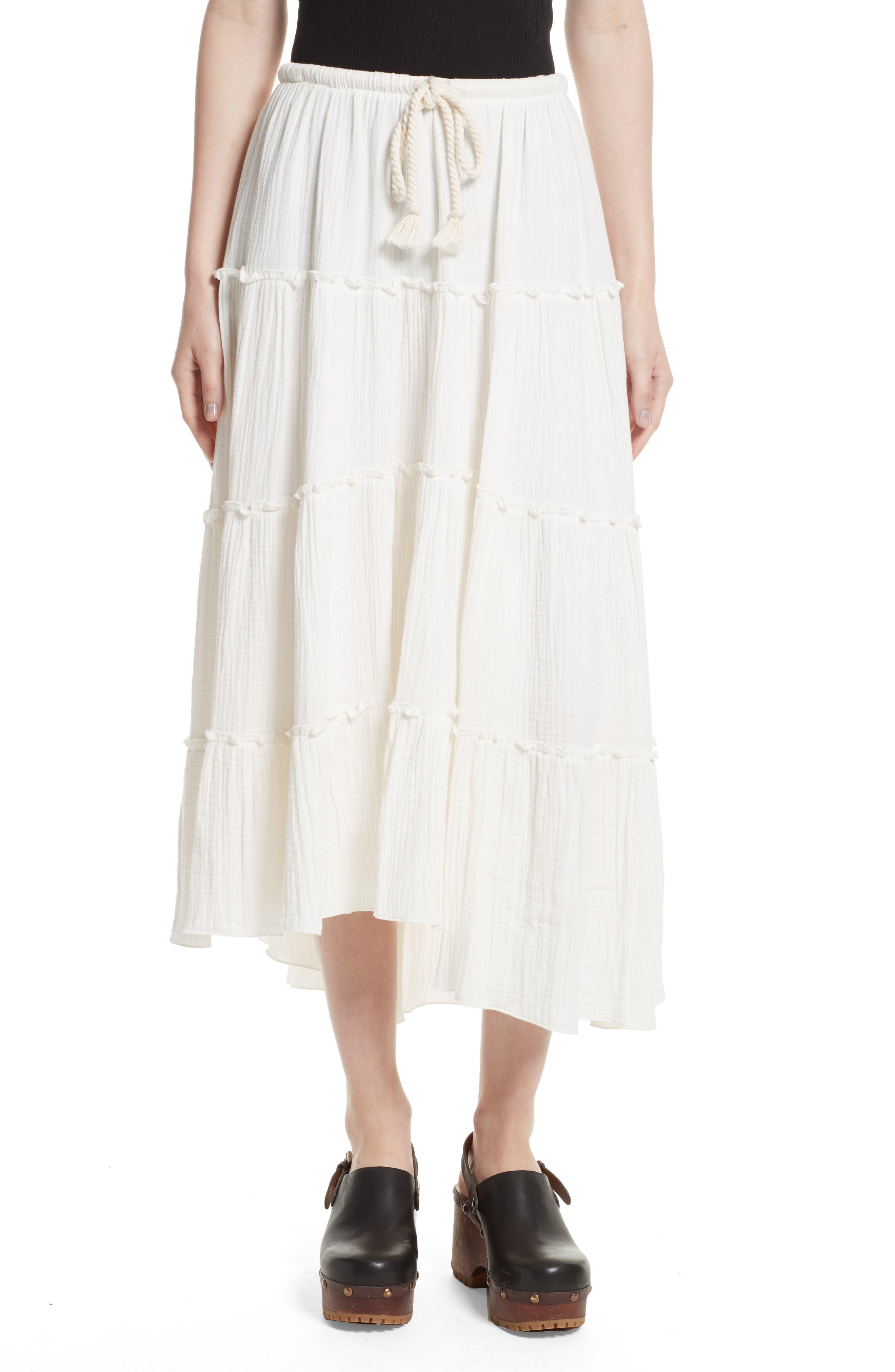 Crinkled Cotton Midi Skirt,                             Main thumbnail 1, color,